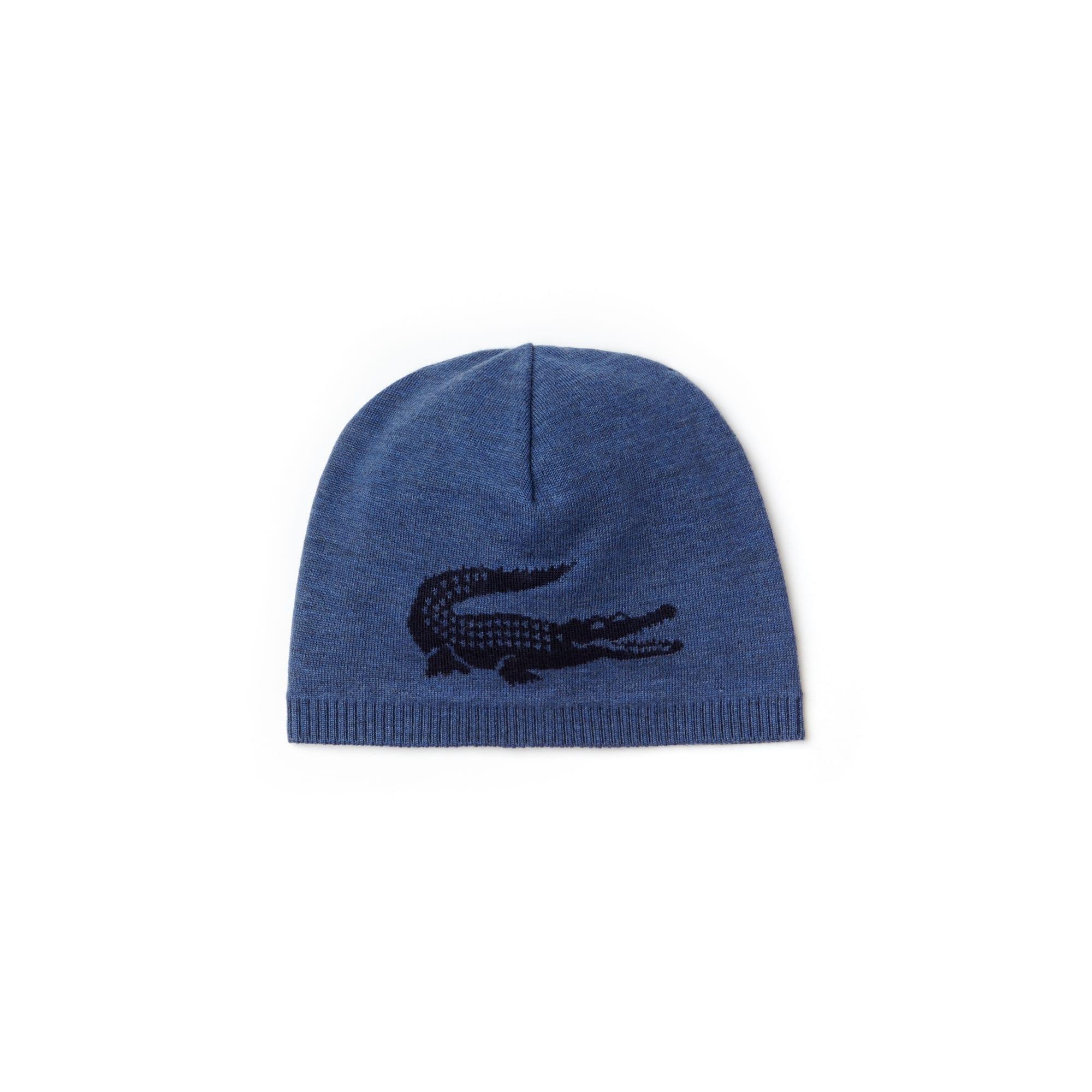 라코스테 Lacoste Mens Jacquard Crocodile Wool Beanie,anchor chine/blue pigment