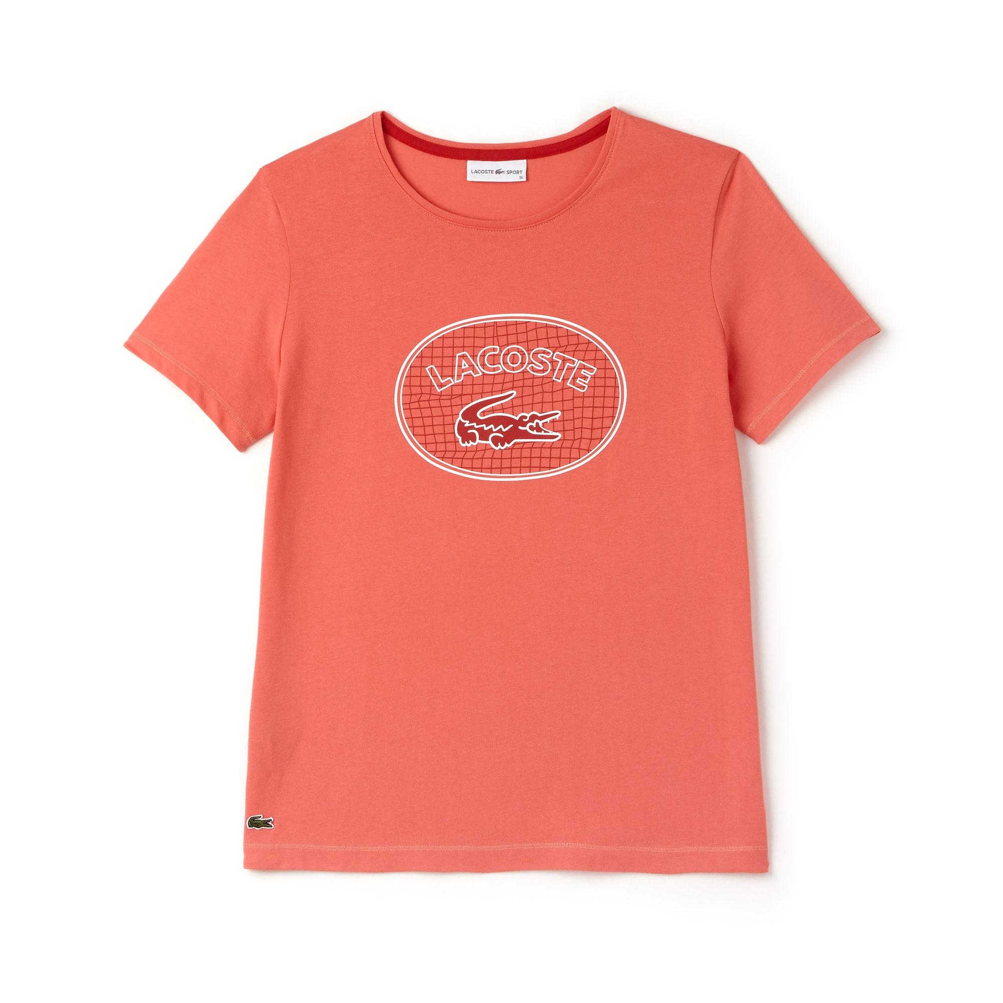 라코스테 Lacoste Womens SPORT Oversized Logo Design Jersey Tennis T-shirt,pink / white / red