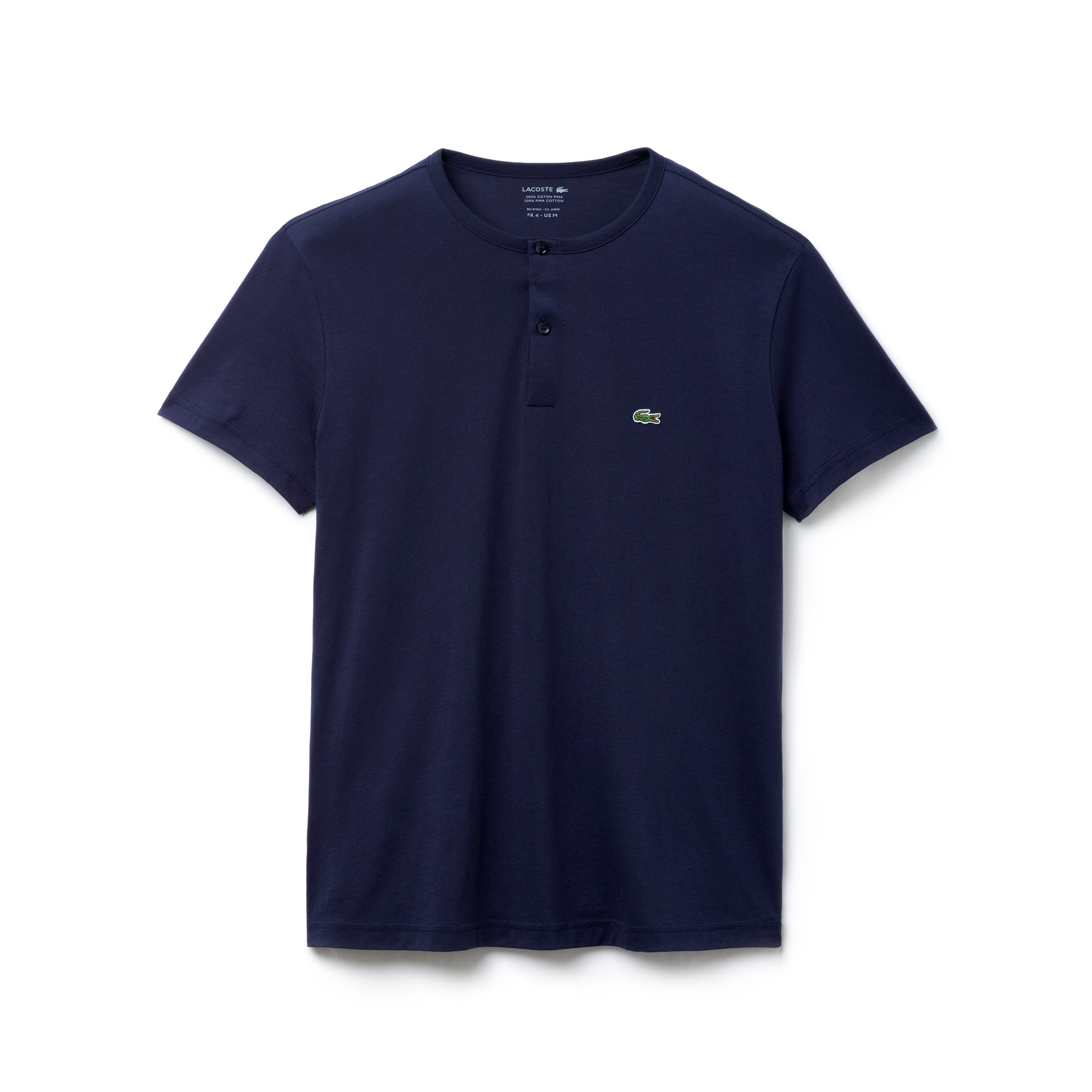 Buttoned Crew Neck T-Shirt in Solid Pima Cotton