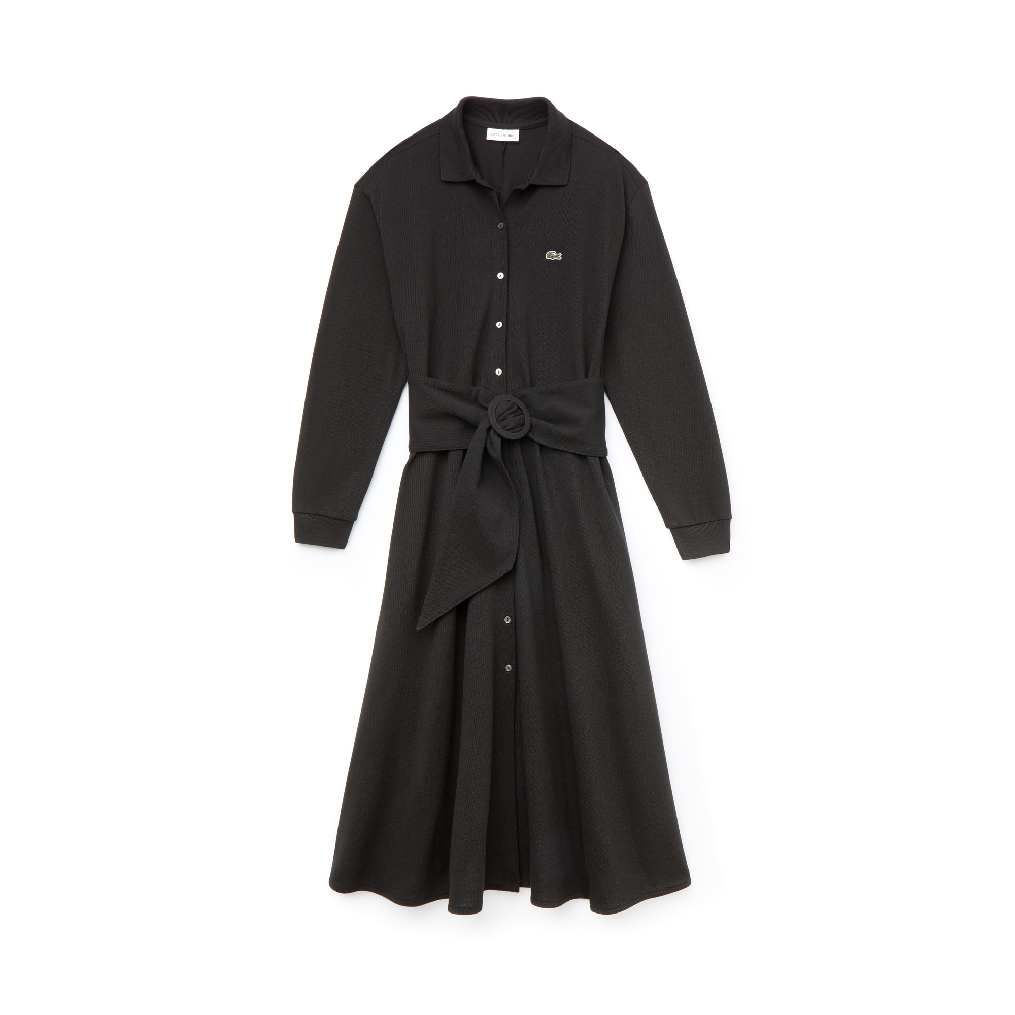 LACOSTE Cottons WOMEN'S BELTED COTTON PETIT PIQUÉ SHIRT DRESS
