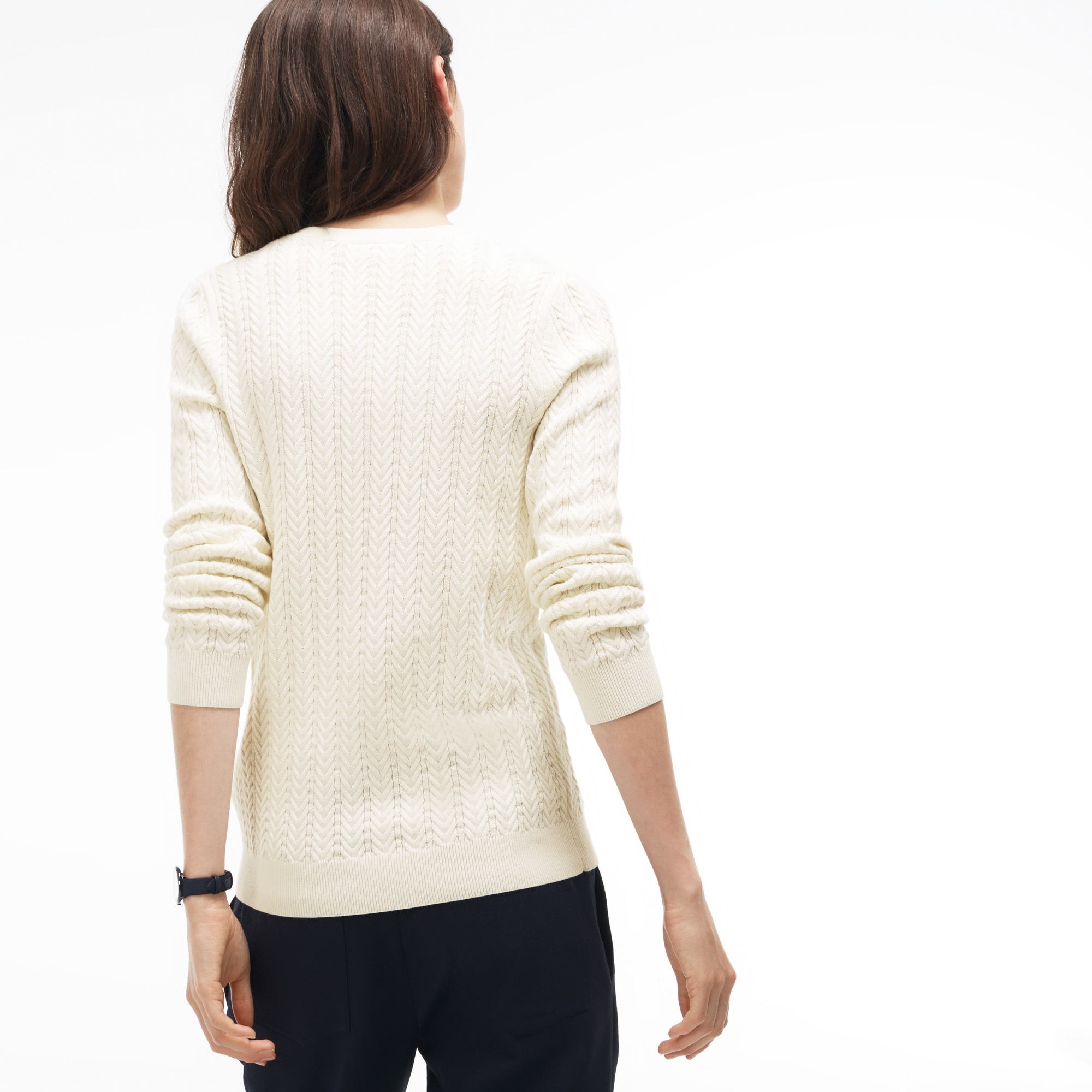 Very Women's V-neck Cable Knit Sweater | LACOSTE OS25