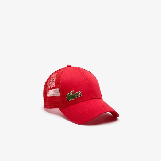 라코스테 스포츠 모자 Lacoste Mens SPORT Mesh Panel Cotton Cap,Red