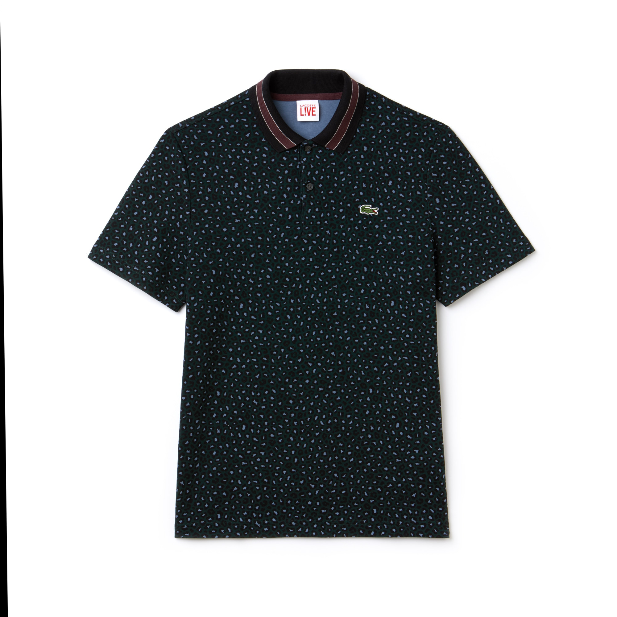 라코스테 Lacoste Mens LIVE Regular Fit Leopard Print Interlock Polo,sinople/multico