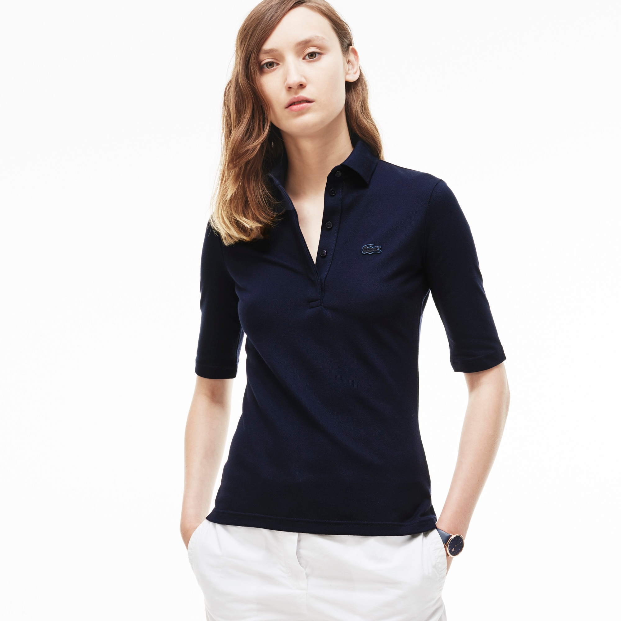 Women's Slim Fit Half Sleeve Stretch Piqué Polo Shirt