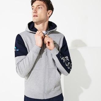 라코스테 Lacoste Mens SPORT Miami Open Edition Sweatshirt,Grey Chine / Navy Blue / Navy Blue - 9ZU (Selected