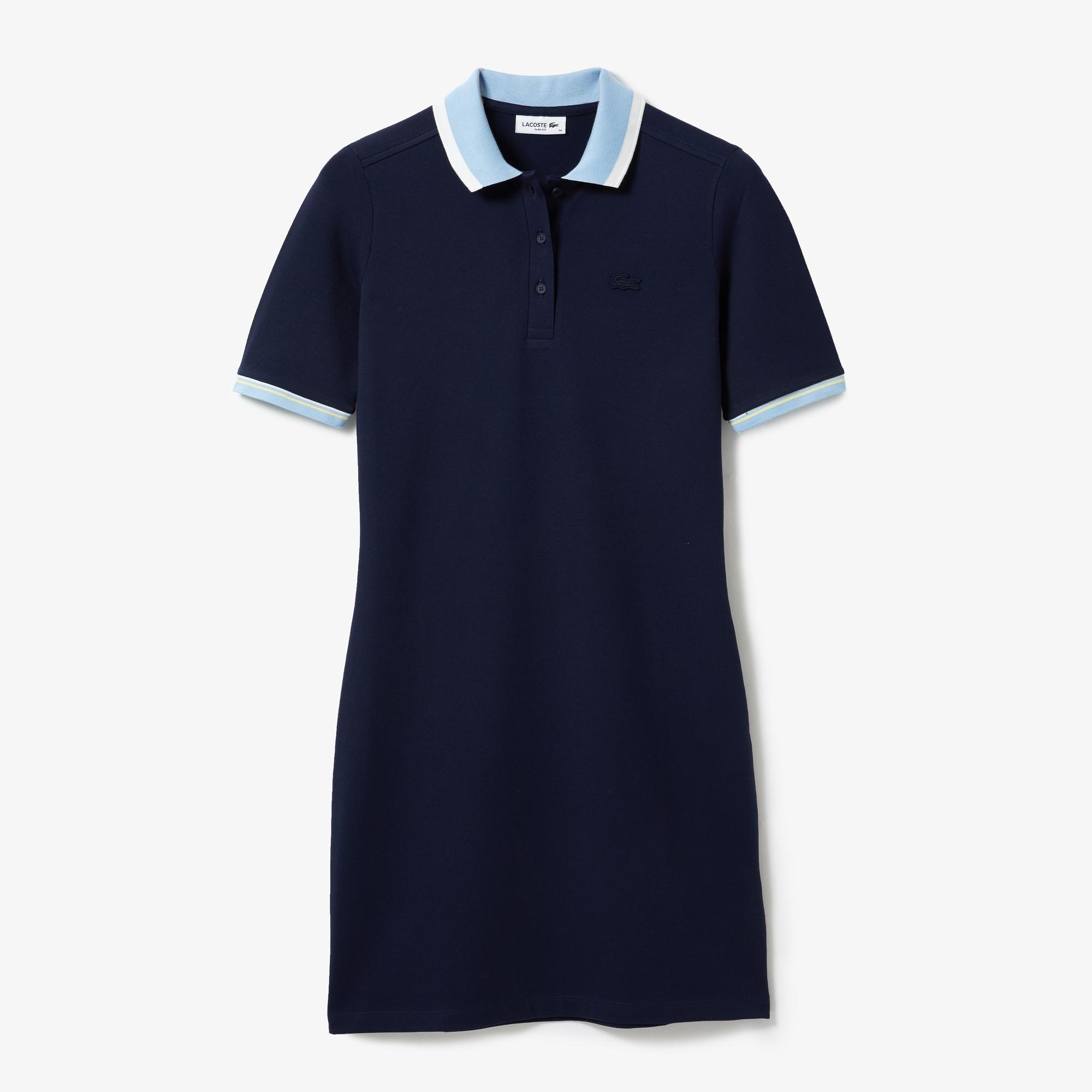 라코스테 폴로 원피스 Lacoste Women's Contrast Collar Stretch Cotton Pique Polo Dress