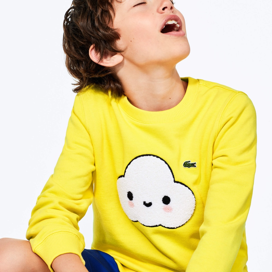 Boys' Lacoste x FriendsWithYou Graphic Crew Neck Cotton Sweatshirt