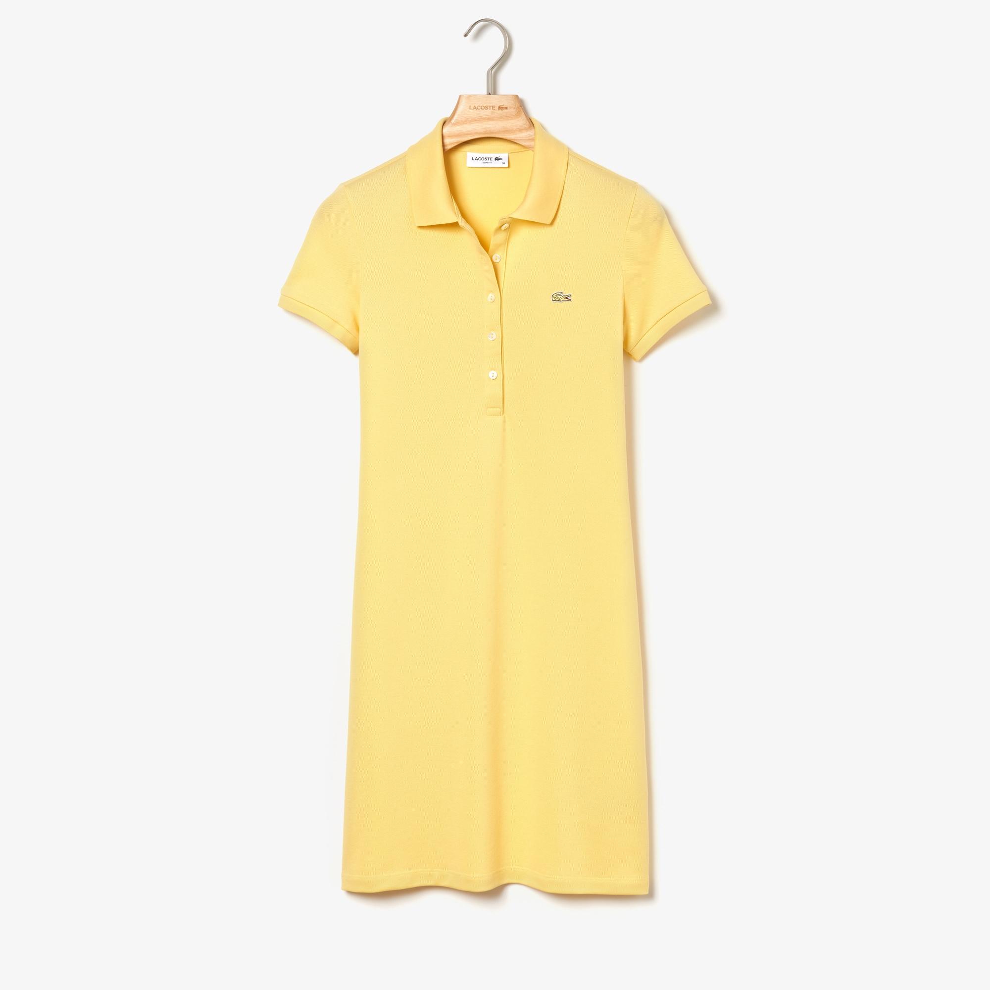 라코스테 미니 피케 폴로 원피스 Lacoste Womens Stretch Cotton Mini Pique Polo Dress,yellow