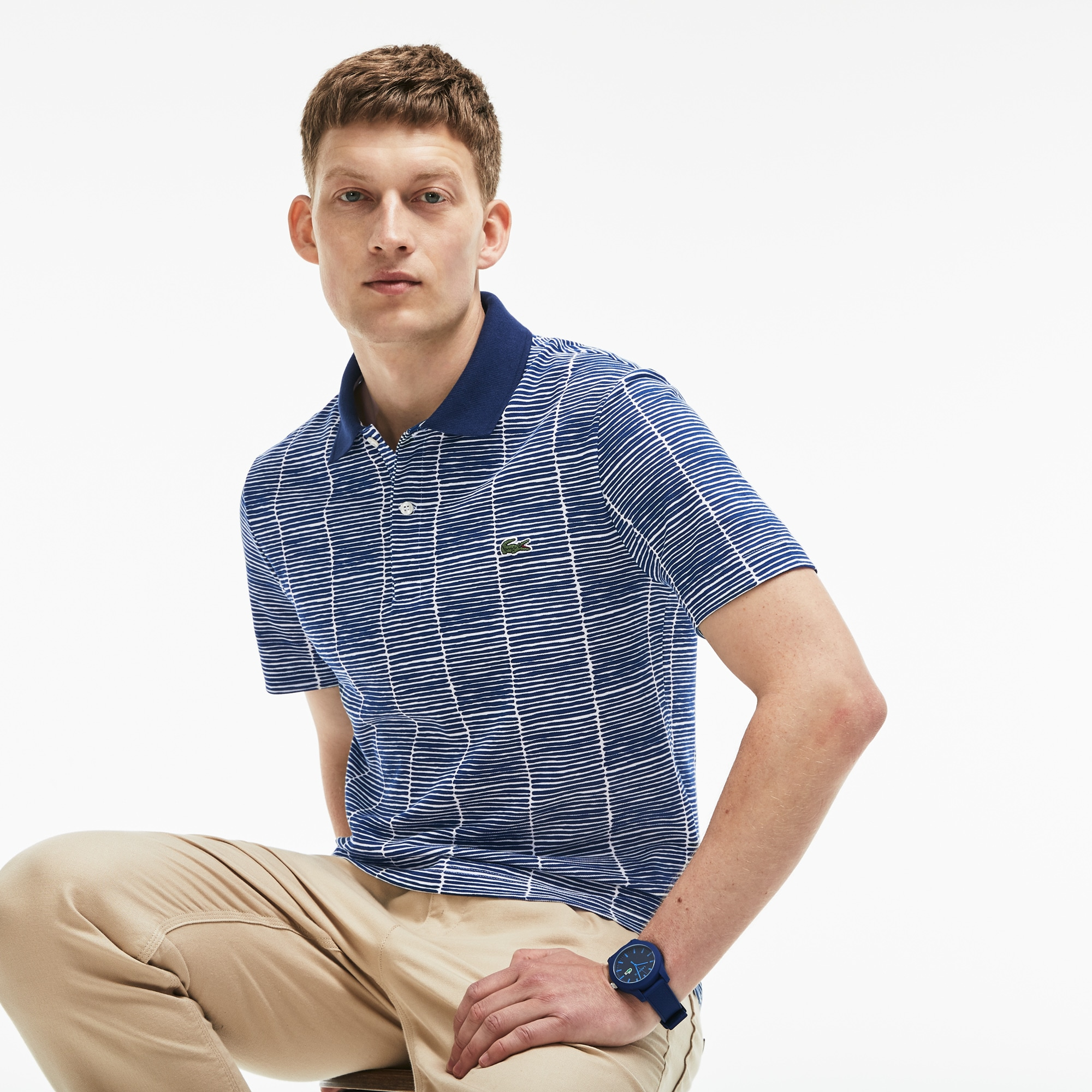 Men's Slim Fit Print Cotton Piqué Polo