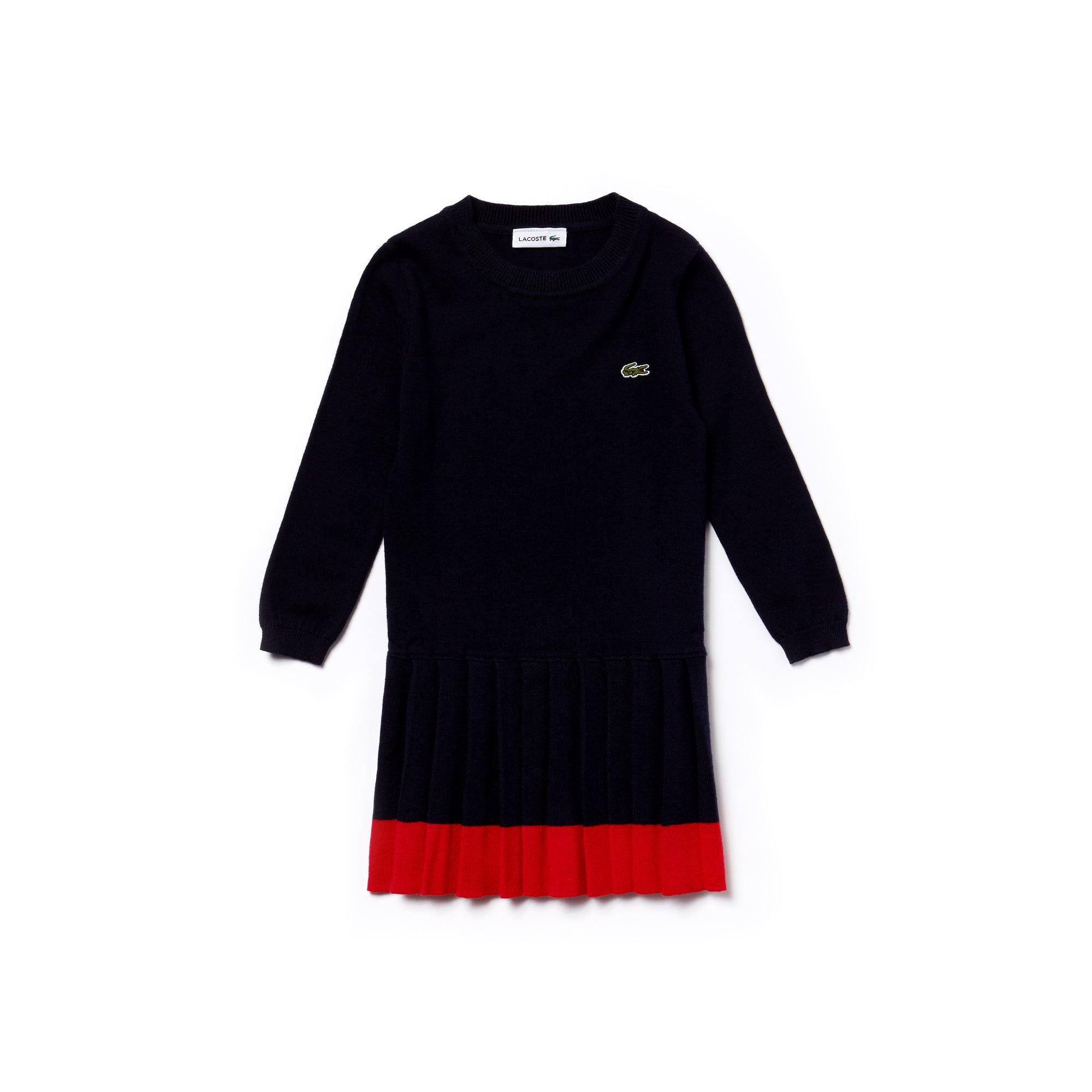 a75263c4826 Plissée En Robe Contrastée Sweatshirt Bande Fille Jersey Avec Lacoste x1wF4w