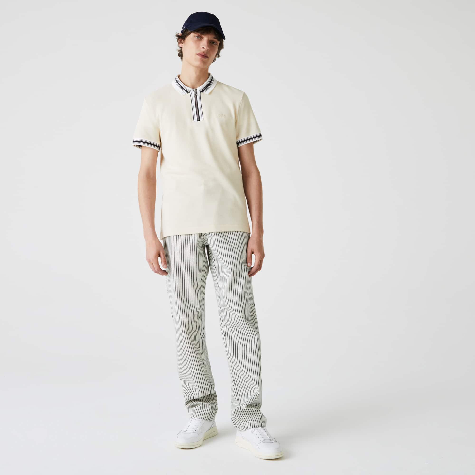 라코스테 Lacoste Men's LIVE Striped Cotton Pants,White / Black 8LP