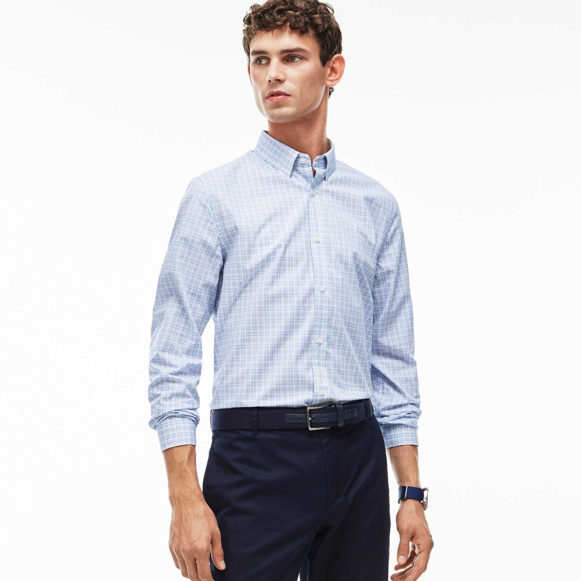 Men's Slim Fit Check Poplin Shirt