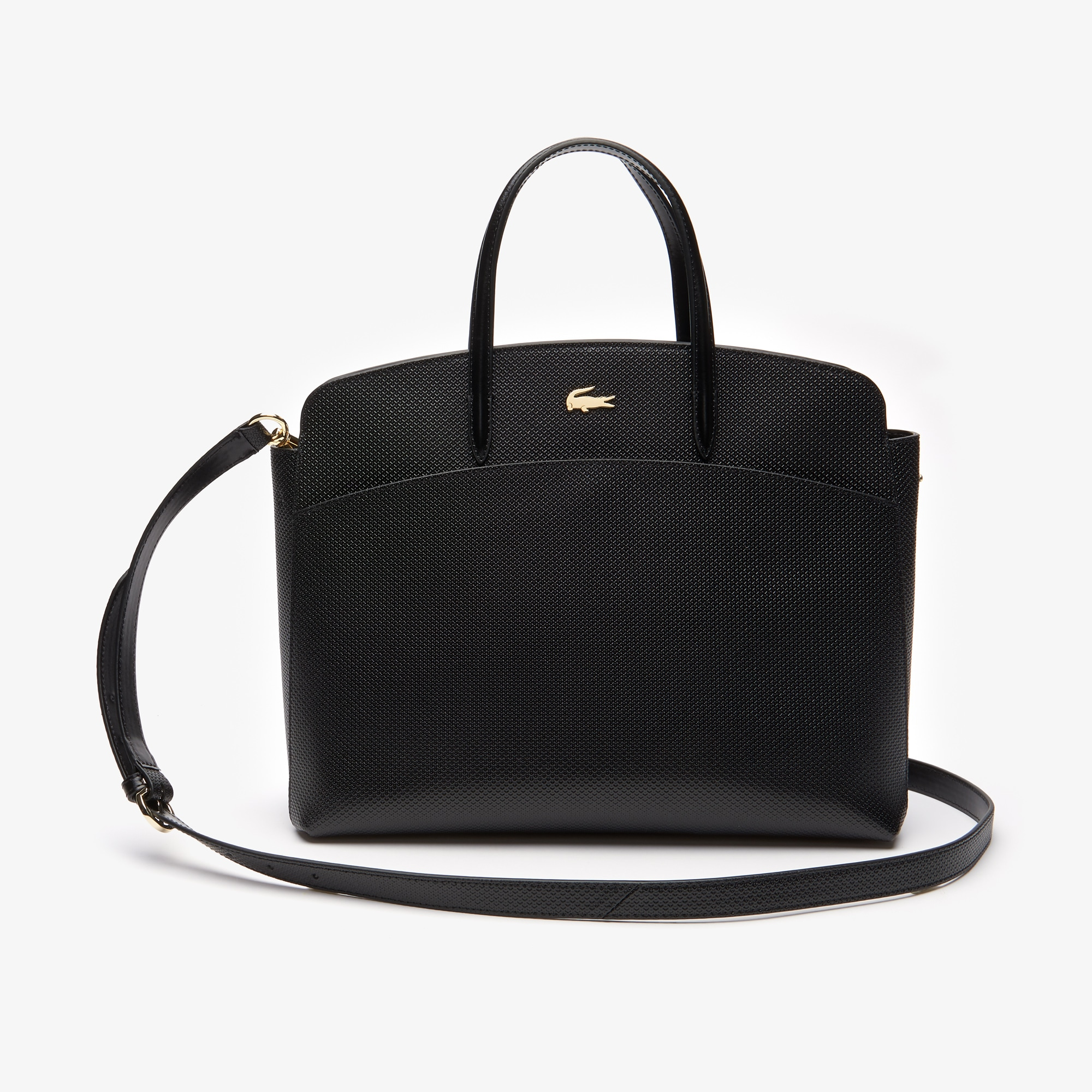 라코스테 Lacoste Womens Chantaco Pique Leather Zip Pocket Tote Bag,black