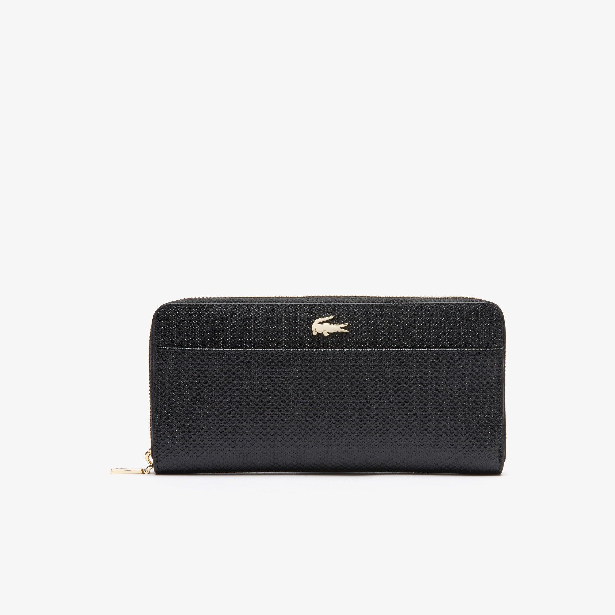 라코스테 Lacoste Womens Chantaco Bicolor Pique Leather 12 Card Zip Wallet,black