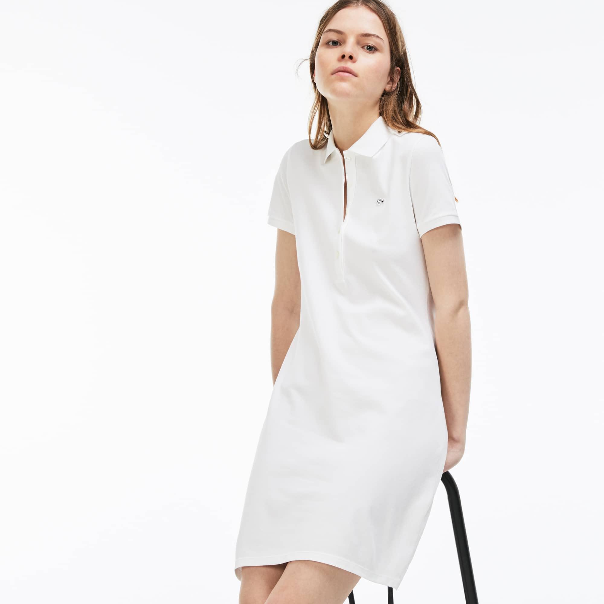 라코스테 피케 폴로 원피스 Lacoste Womens Stretch Cotton Mini Pique Polo Dress,white EF8470-51