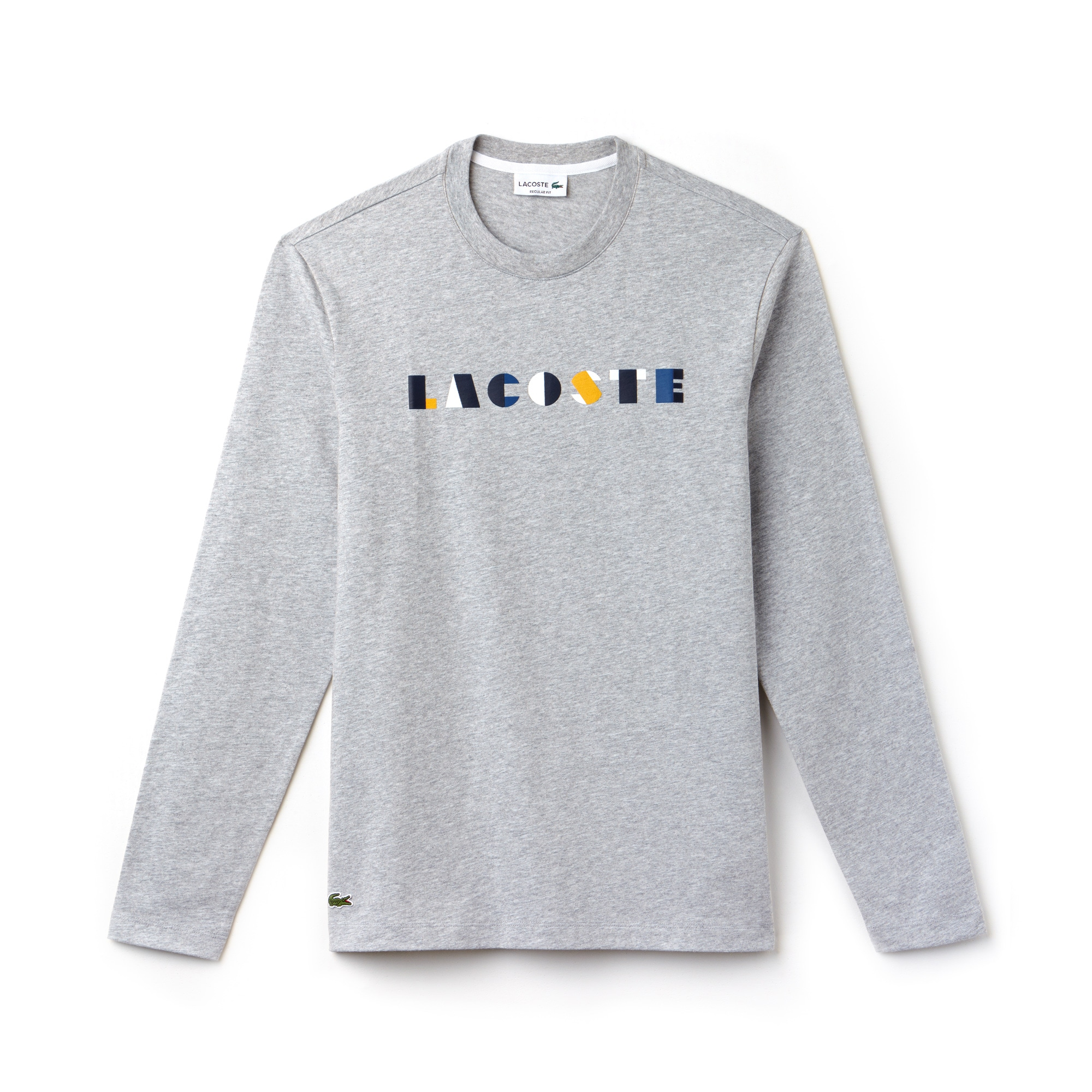 라코스테 Lacoste Mens Crew Neck Lettering Cotton Jersey T-shirt,Grey