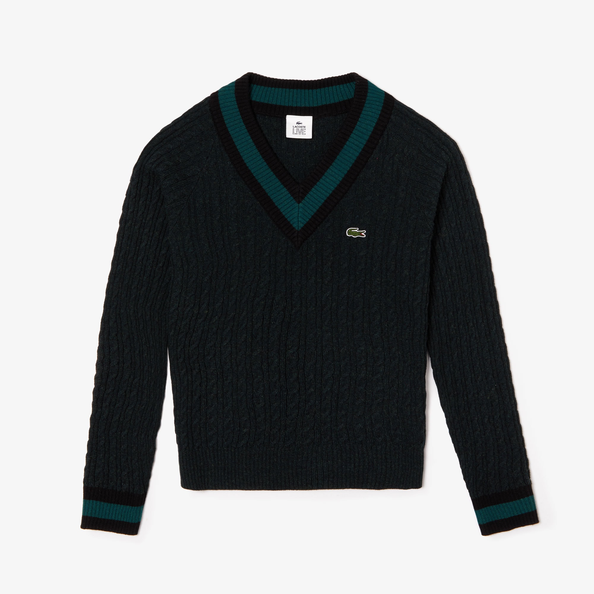 Unisex LIVE Cable Knit Wool Blend Sweater