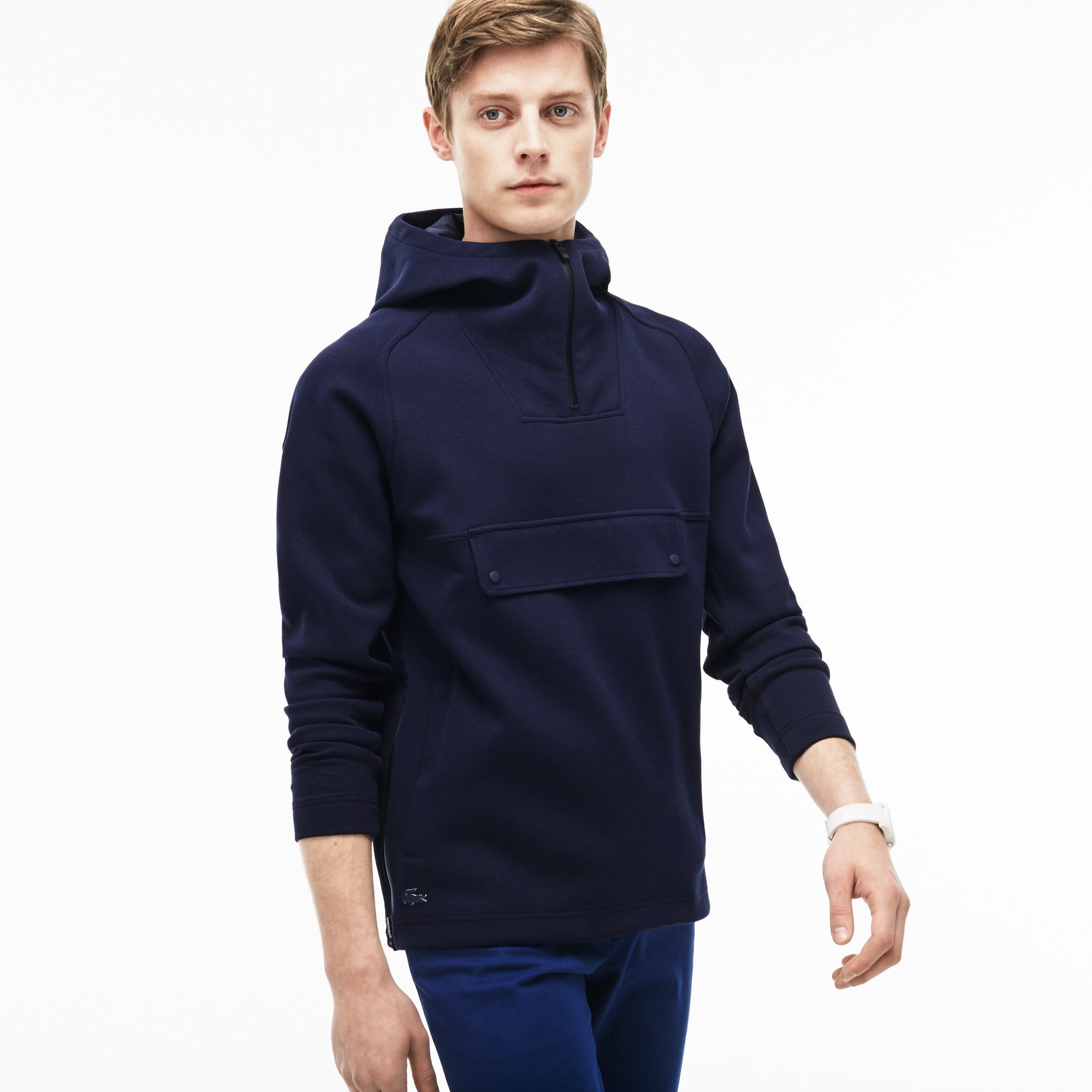 Men's Hooded Zip Neck Wide Pockets Sweatshirt