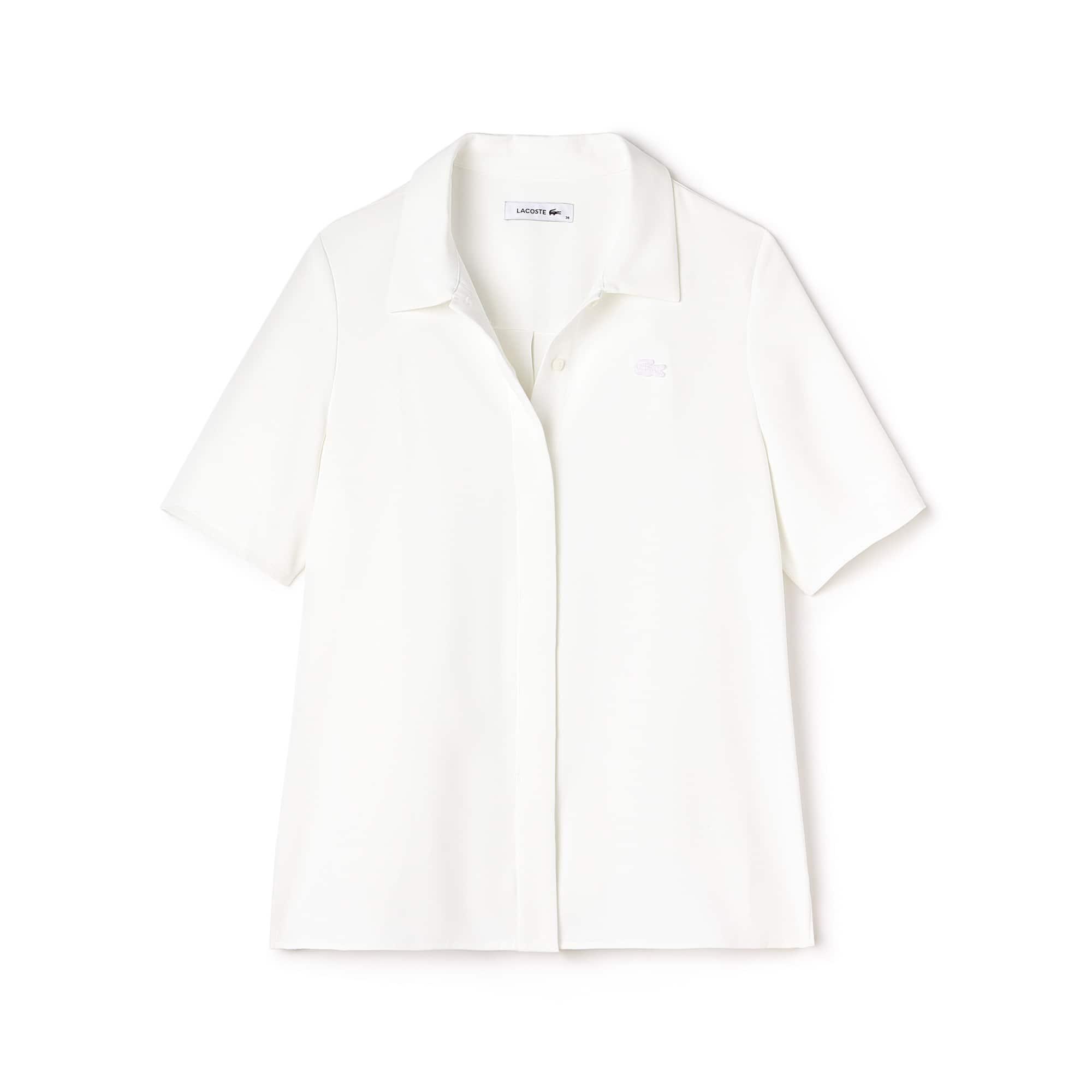 라코스테 Lacoste Womens Regular Fit Crepe Shirt,White
