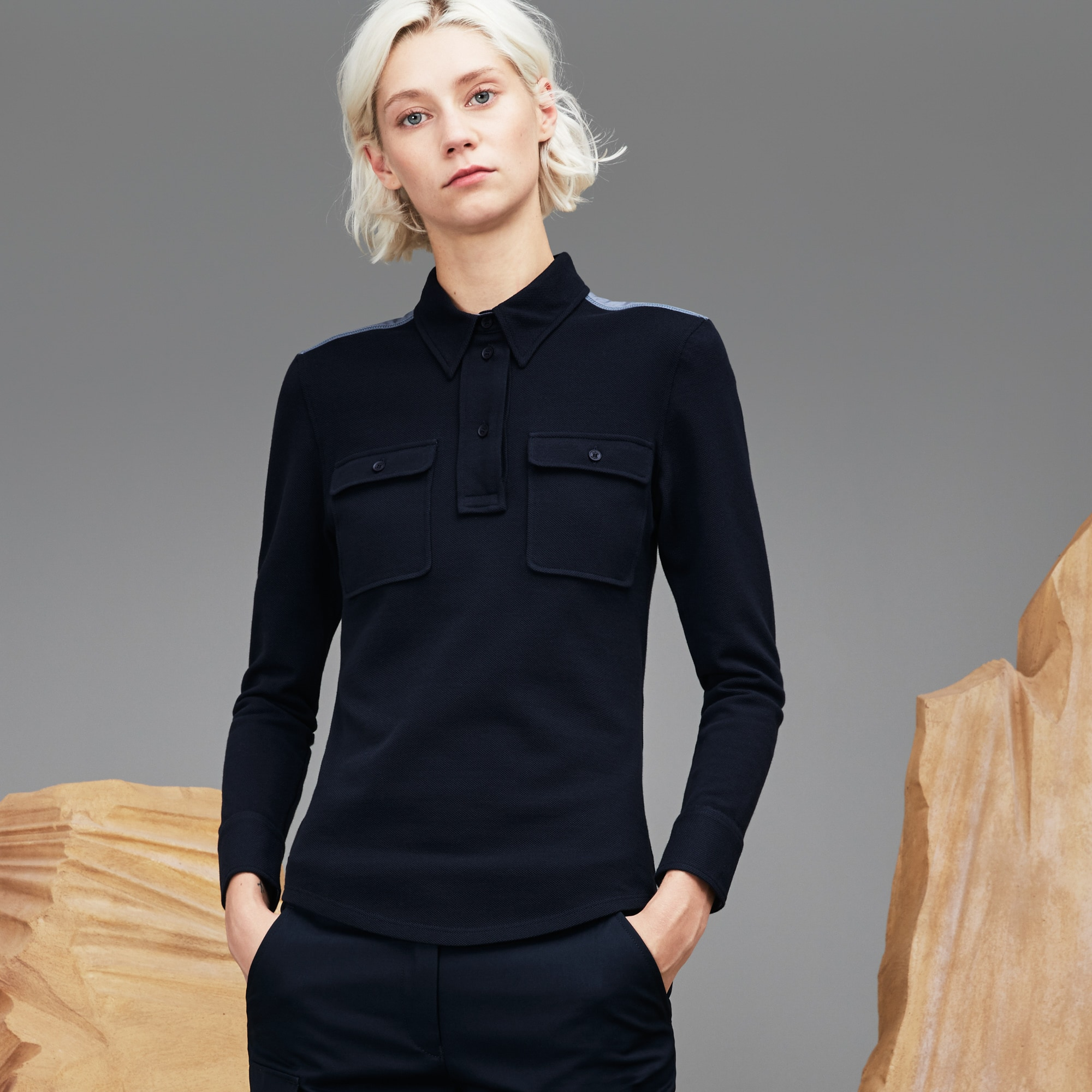Women's  Fashion Show Piqué Polo With Flap Pockets