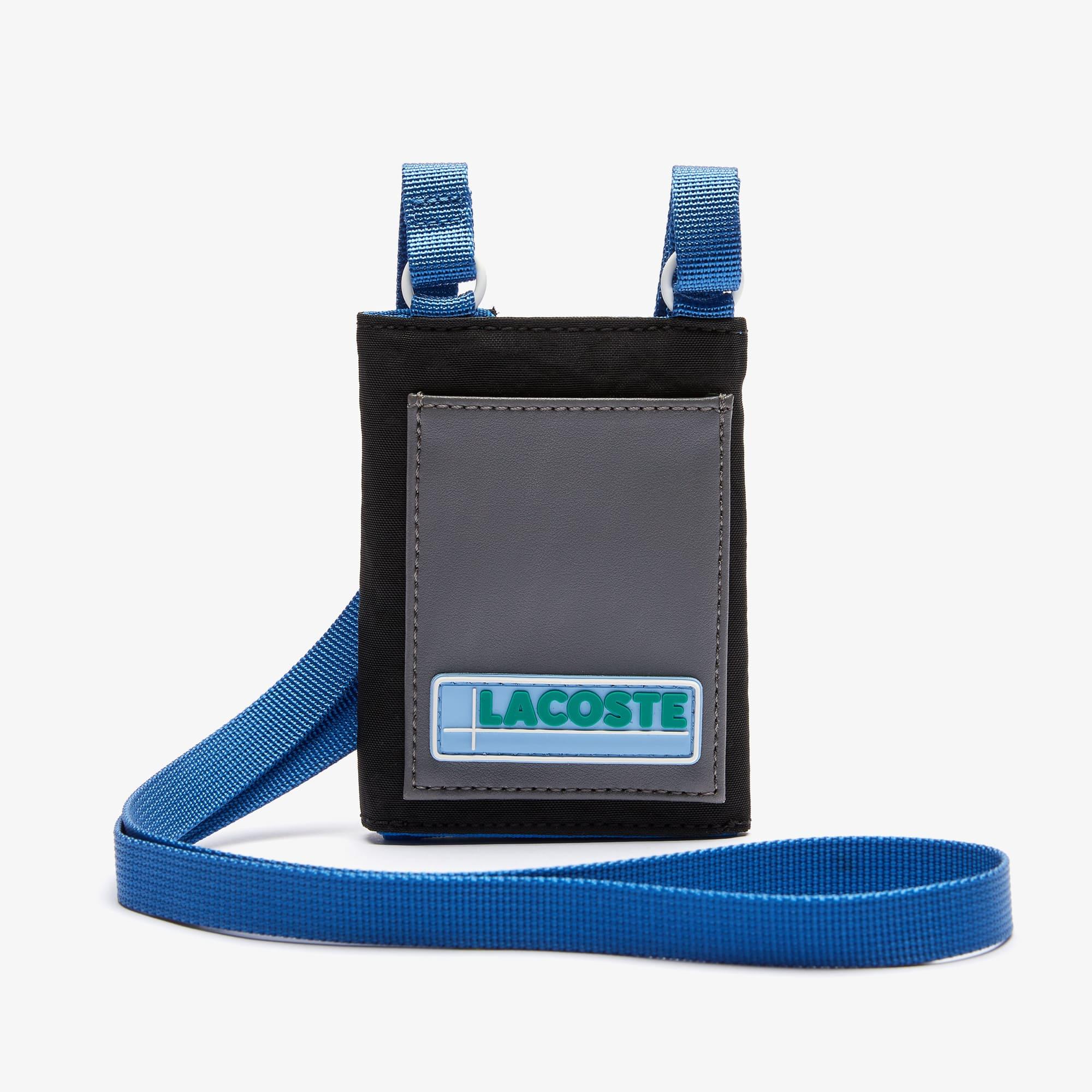 라코스테 '랩 미 업 컬렉션' LCST 목걸이 미니 지갑 Lacoste Mens LCST Colorblocked Mini Necklace Wallet,SMOKED PEARL NOIR ULTRAMA • F56