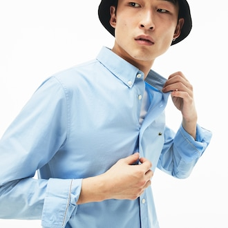 라코스테 스트레치 코튼 포플린 셔츠 - 라이트 블루 (슬림핏) Lacoste Mens Slim Fit Stretch Cotton Poplin Shirt