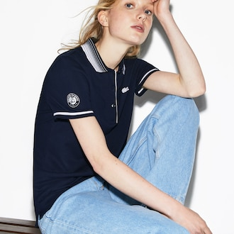 라코스테 Lacoste Womens SPORT French Open Edition Polo,Navy Blue / White