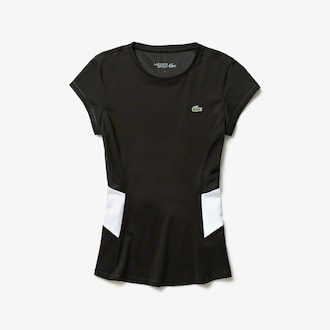 라코스테 스포츠 우먼 티셔츠 Lacoste Womens SPORT Stretch Tech Jersey Mesh T-shirt,Black / White / Black