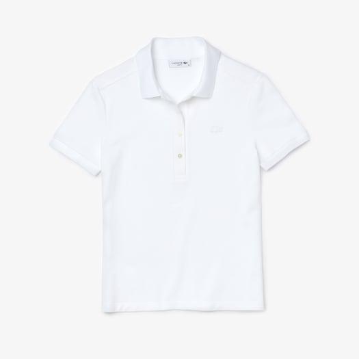 라코스테 우먼 스트레치 코튼 폴로 셔츠 Lacoste Womens Stretch Cotton Pique Polo,White - 001