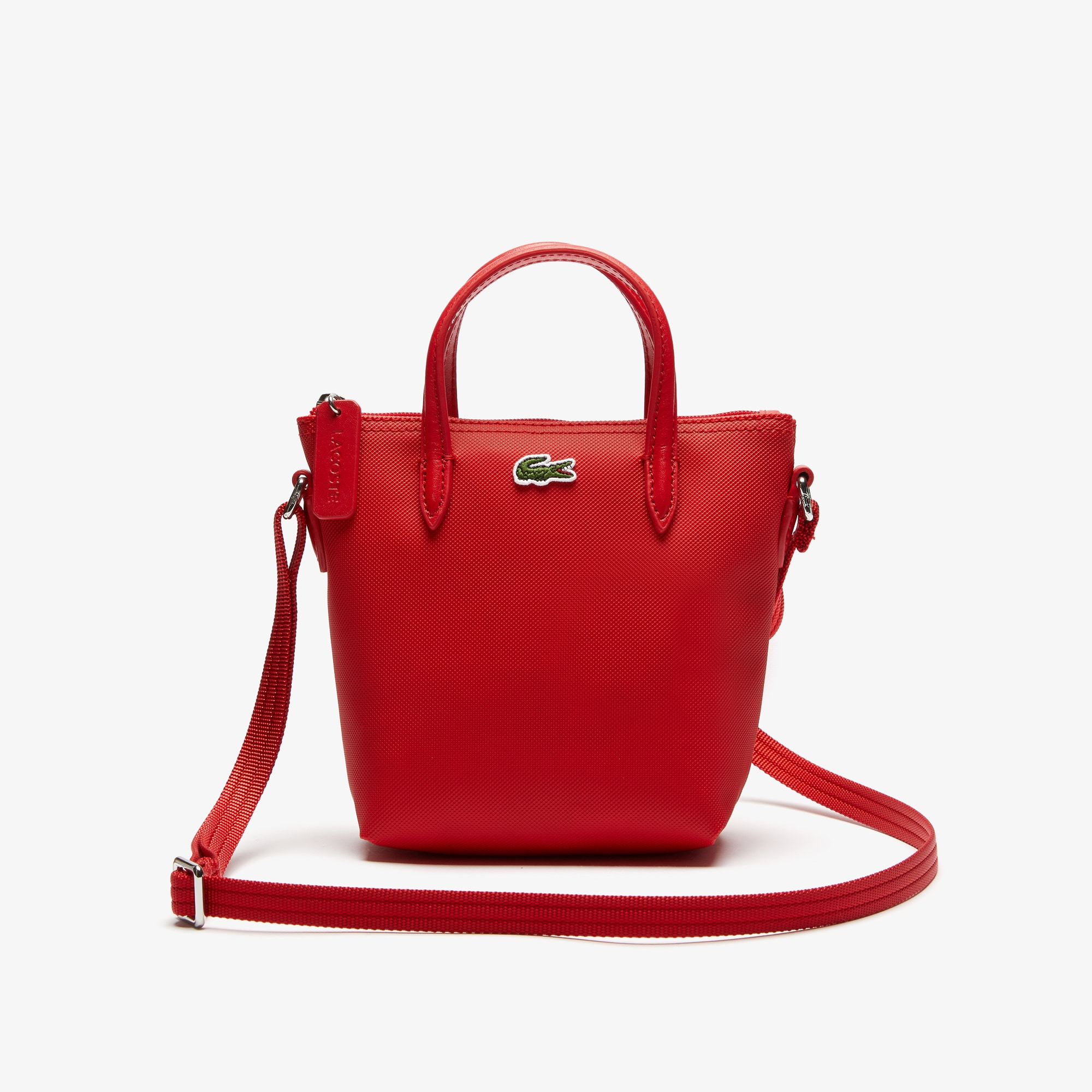 라코스테 Lacoste Womens L.12.12 Petit Pique Coated Canvas Tote Bag,high risk red