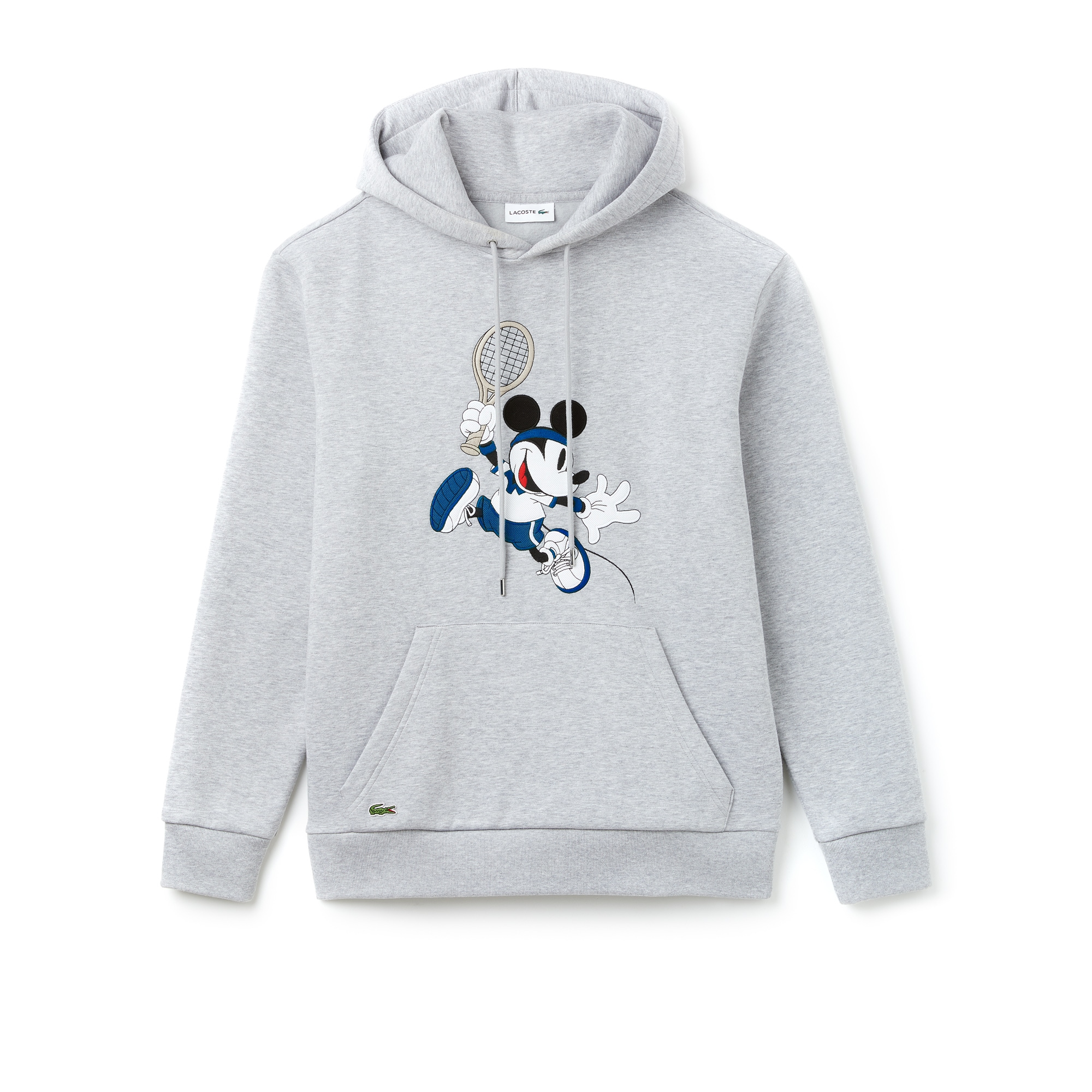 라코스테 Lacoste Unisex 샵디즈니 Disney Mickey Embroidery Hooded Fleece Sweatshirt,silver chine