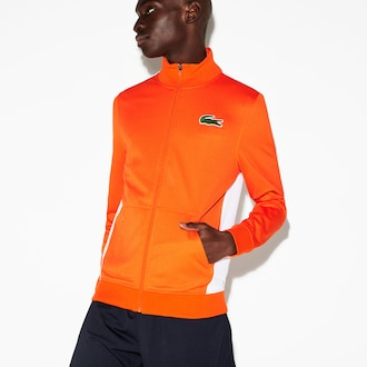 라코스테 Lacoste Mens SPORT Miami Open Edition Jacket,Orange / White - 2RZ (Selected colour)