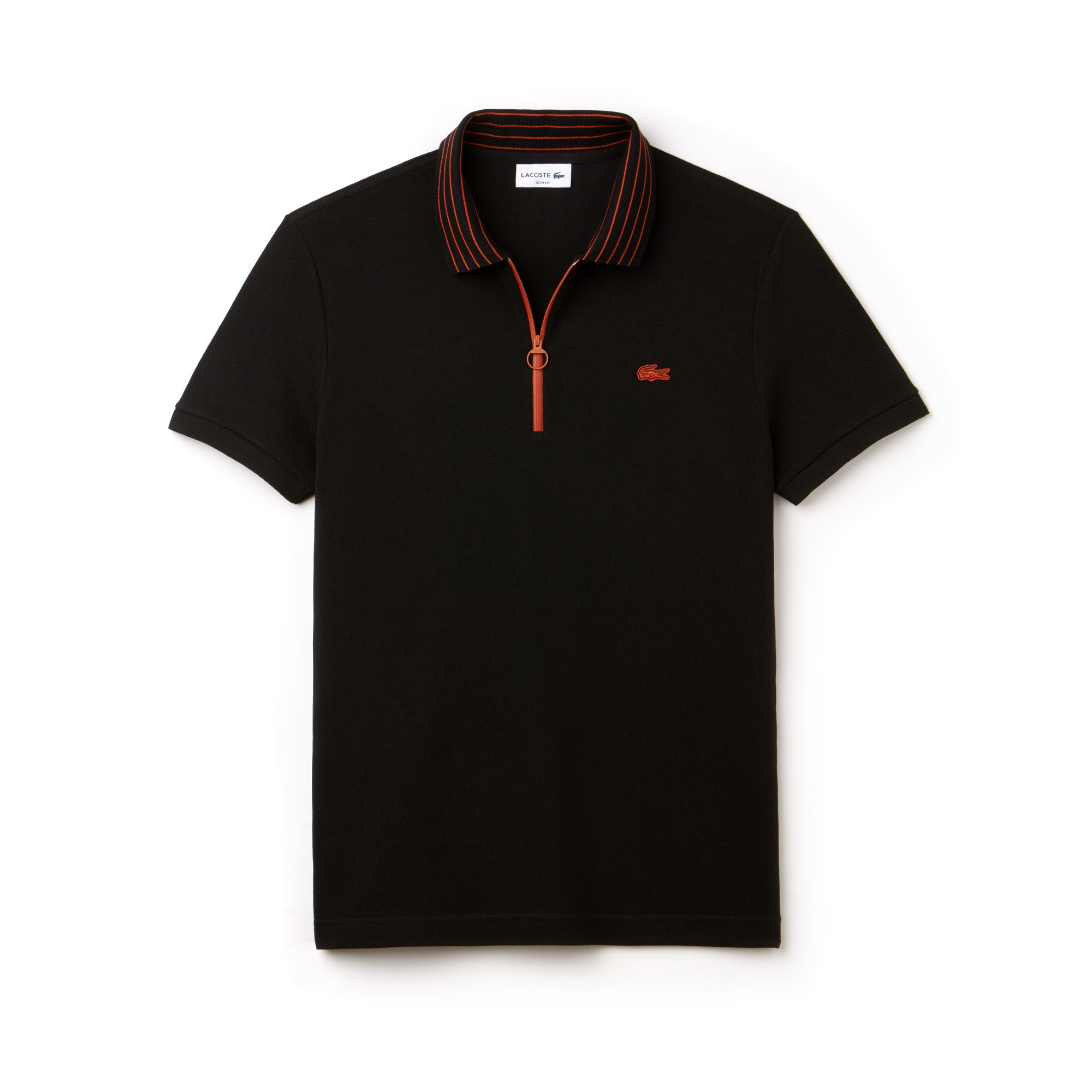 Men's Lacoste Slim Fit Contrasting Zip Neck Petit Piqué Polo