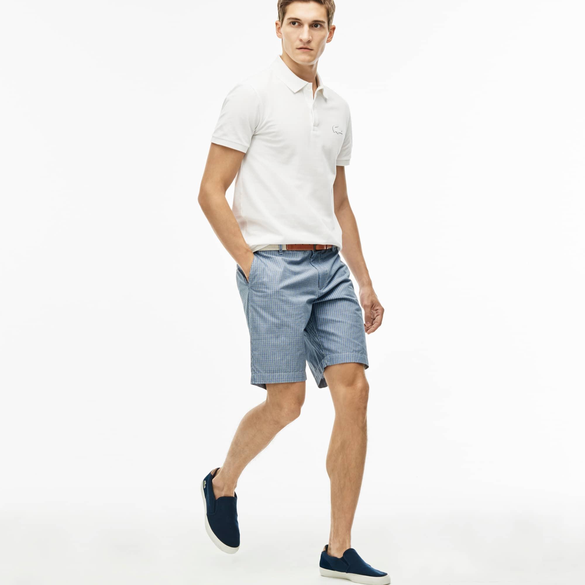 Men's Regular Fit Gingham Cotton Canvas Bermuda Shorts