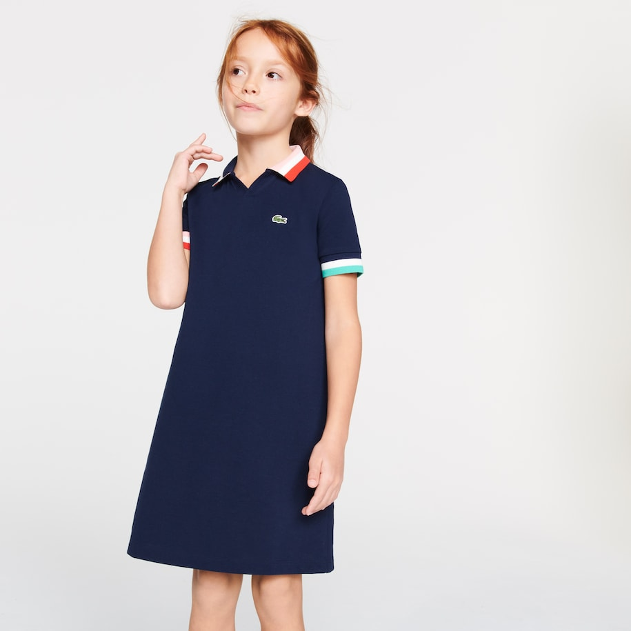 Girls' Colorblock Cotton Piqué Polo Dress