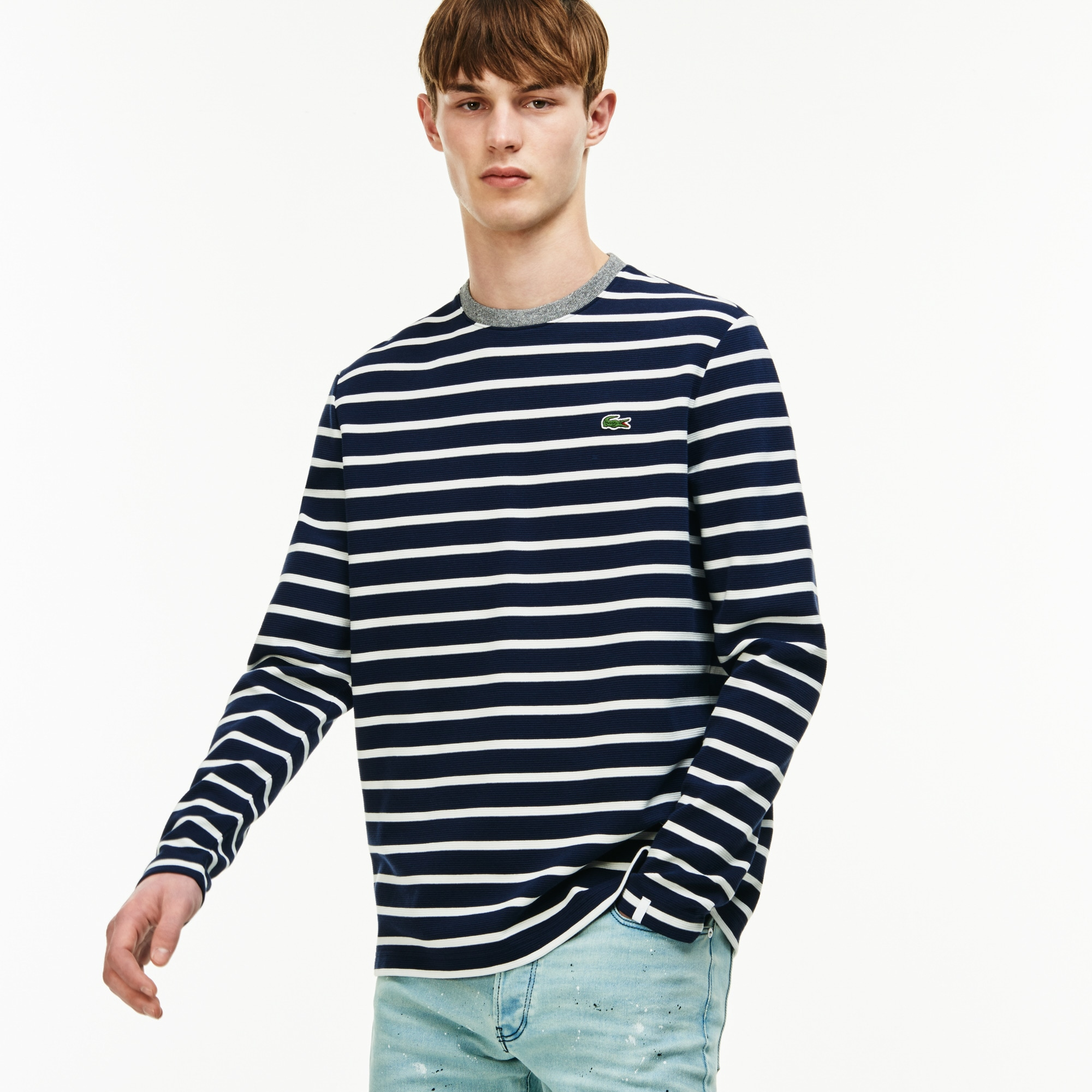 Men's  LIVE Striped Ottoman Cotton T-shirt