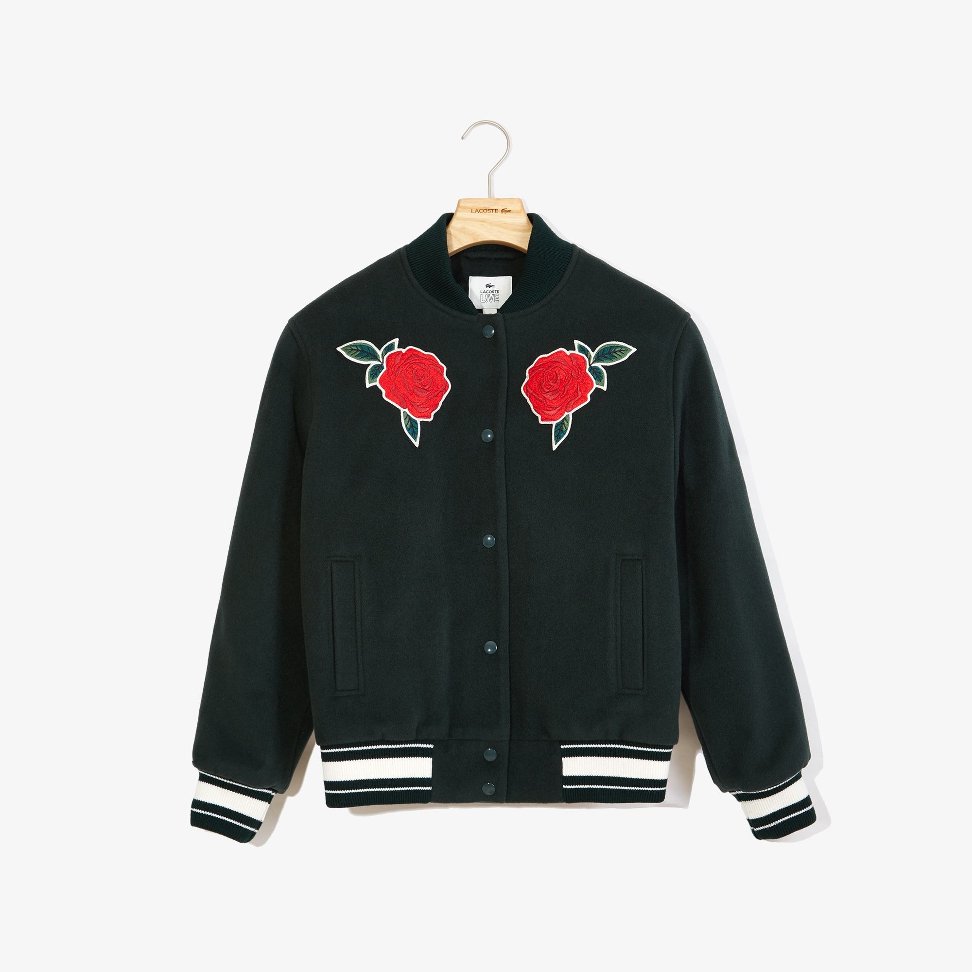 Women's LIVE Rose-Embroidered Varsity Jacket