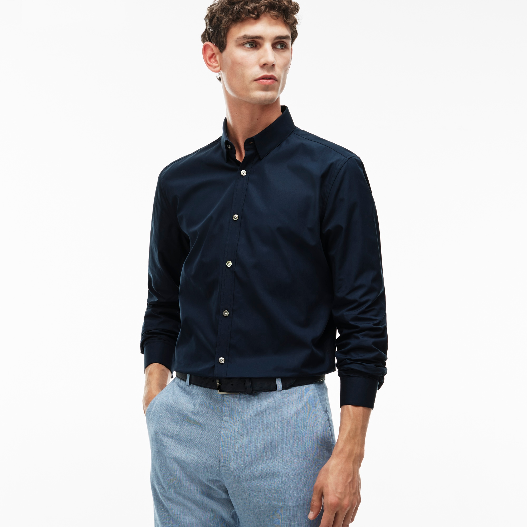 Men's Slim Fit Poplin Spread Collar Shirt