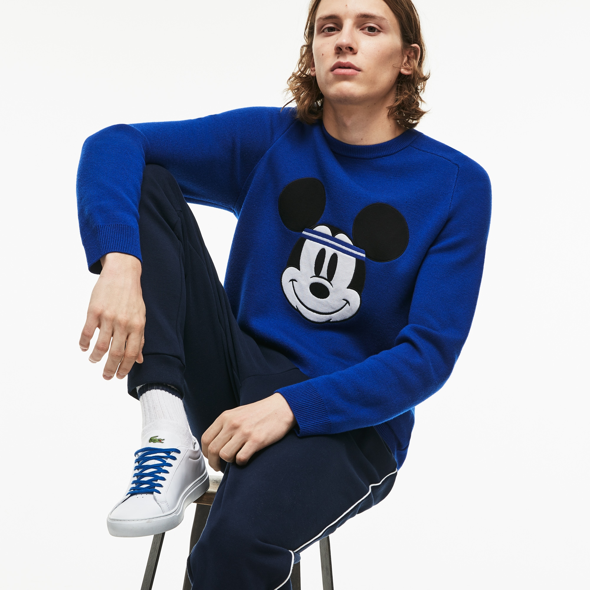 Men's Crew Neck Disney Mickey Embroidery Interlock Sweater