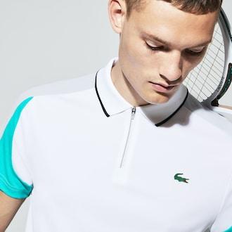 라코스테 Lacoste Mens SPORT Zip Neck Contrast Bands Pique Tennis Polo