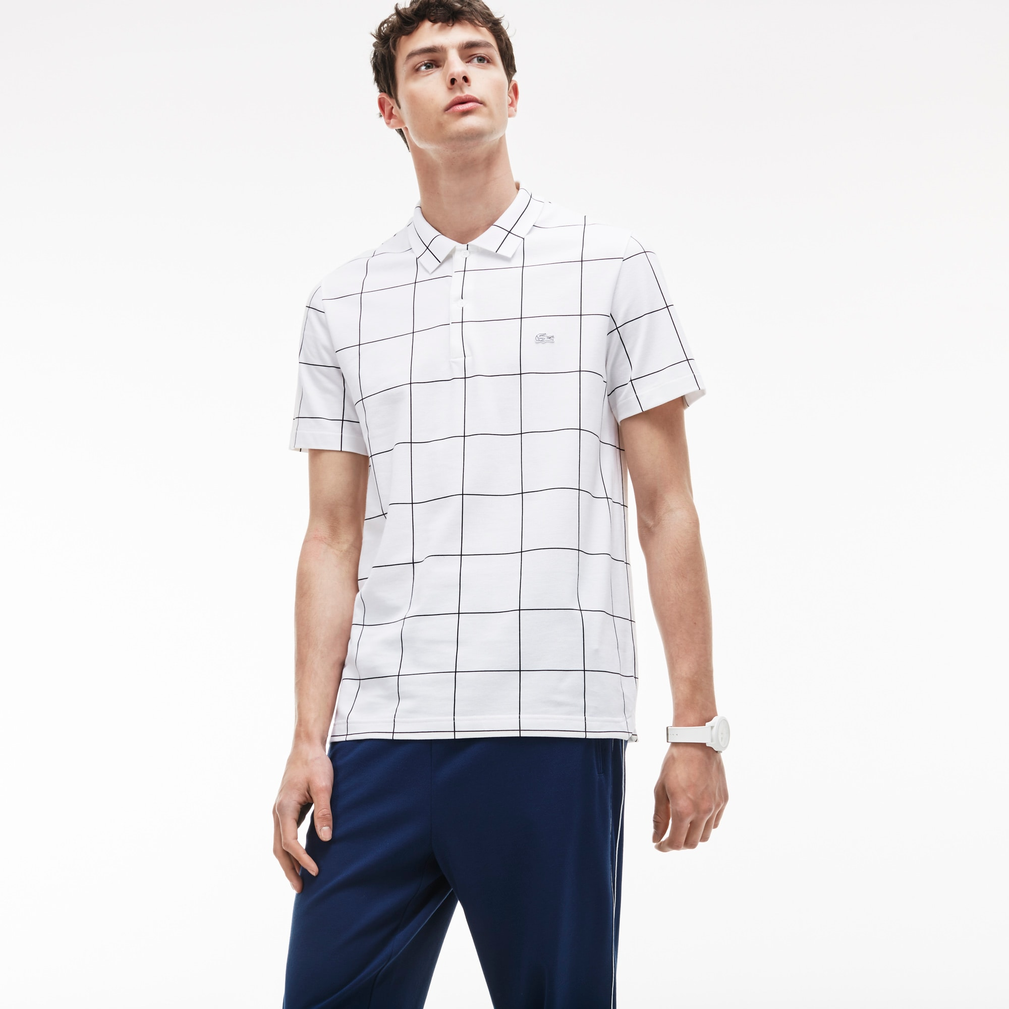 Men's Regular Fit Net Print Cotton Piqué Polo Shirt