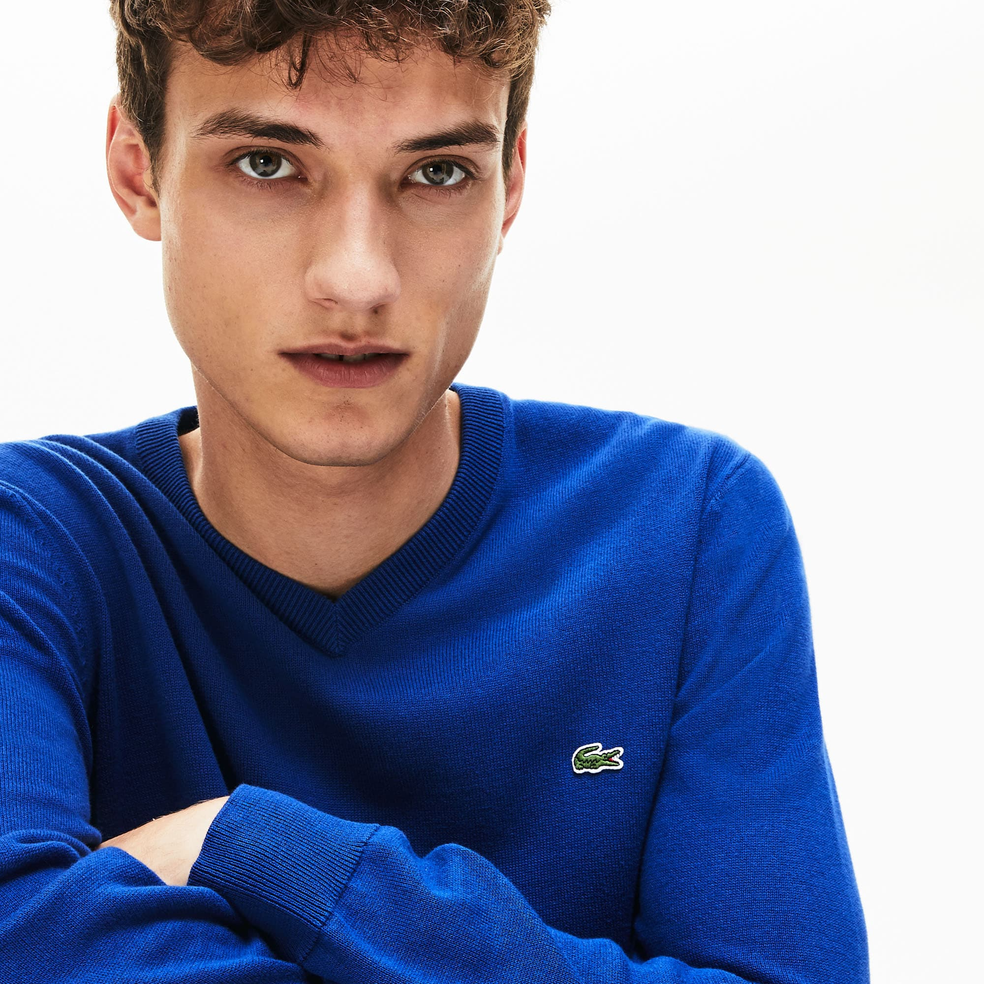 Lacoste Jewelry Men's V-neck Caviar Piqué Accent Cotton Jersey Sweater