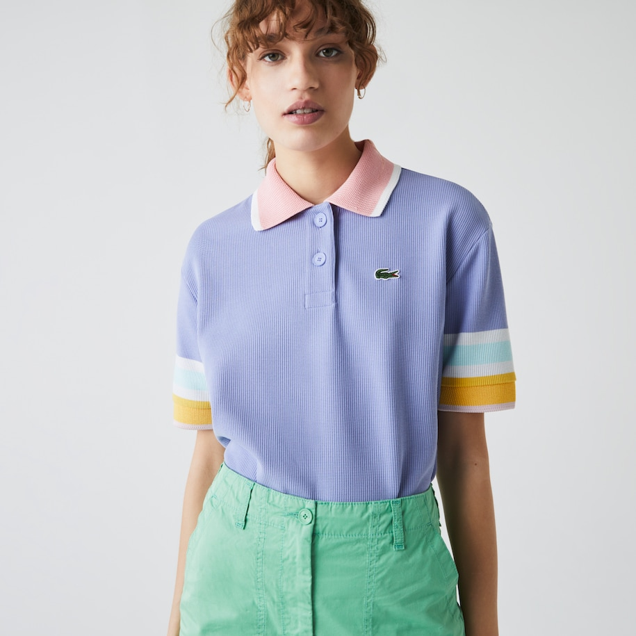 Women's Striped Sleeve Textured Cotton Polo