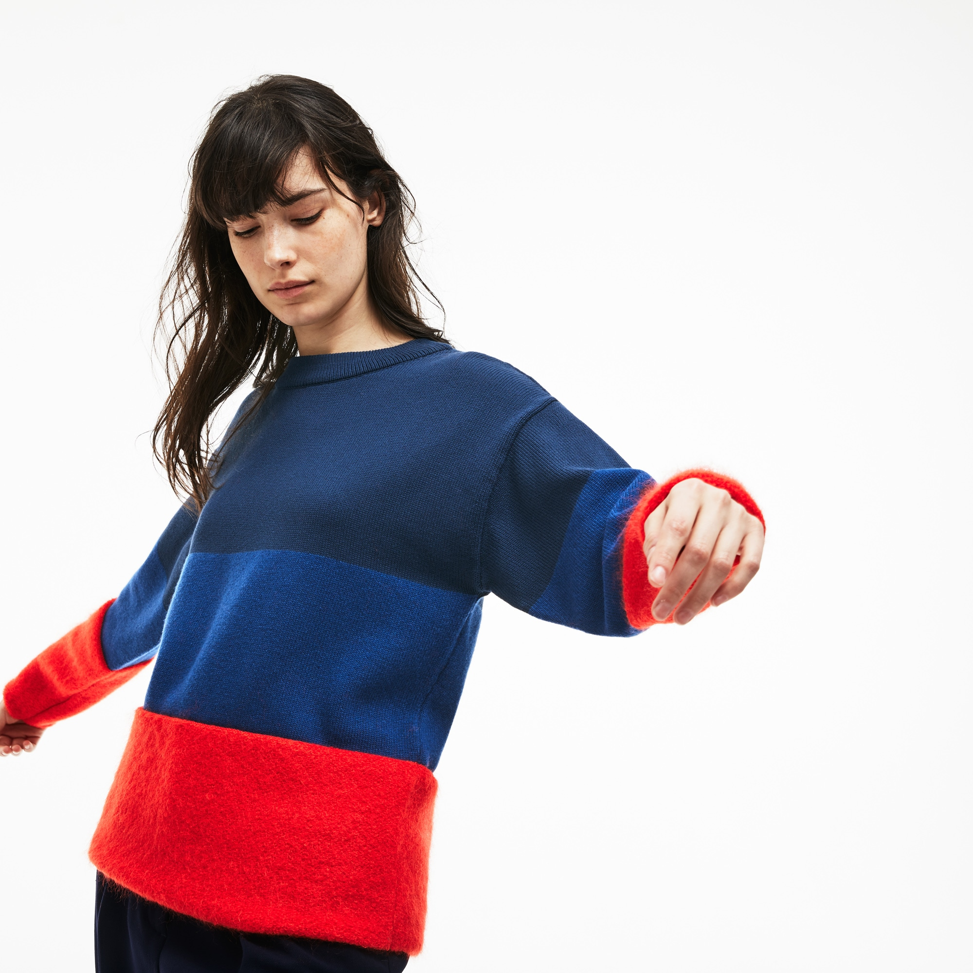 Women's Crew Neck Colorblock Cotton, Mohair And Wool Jersey Sweater