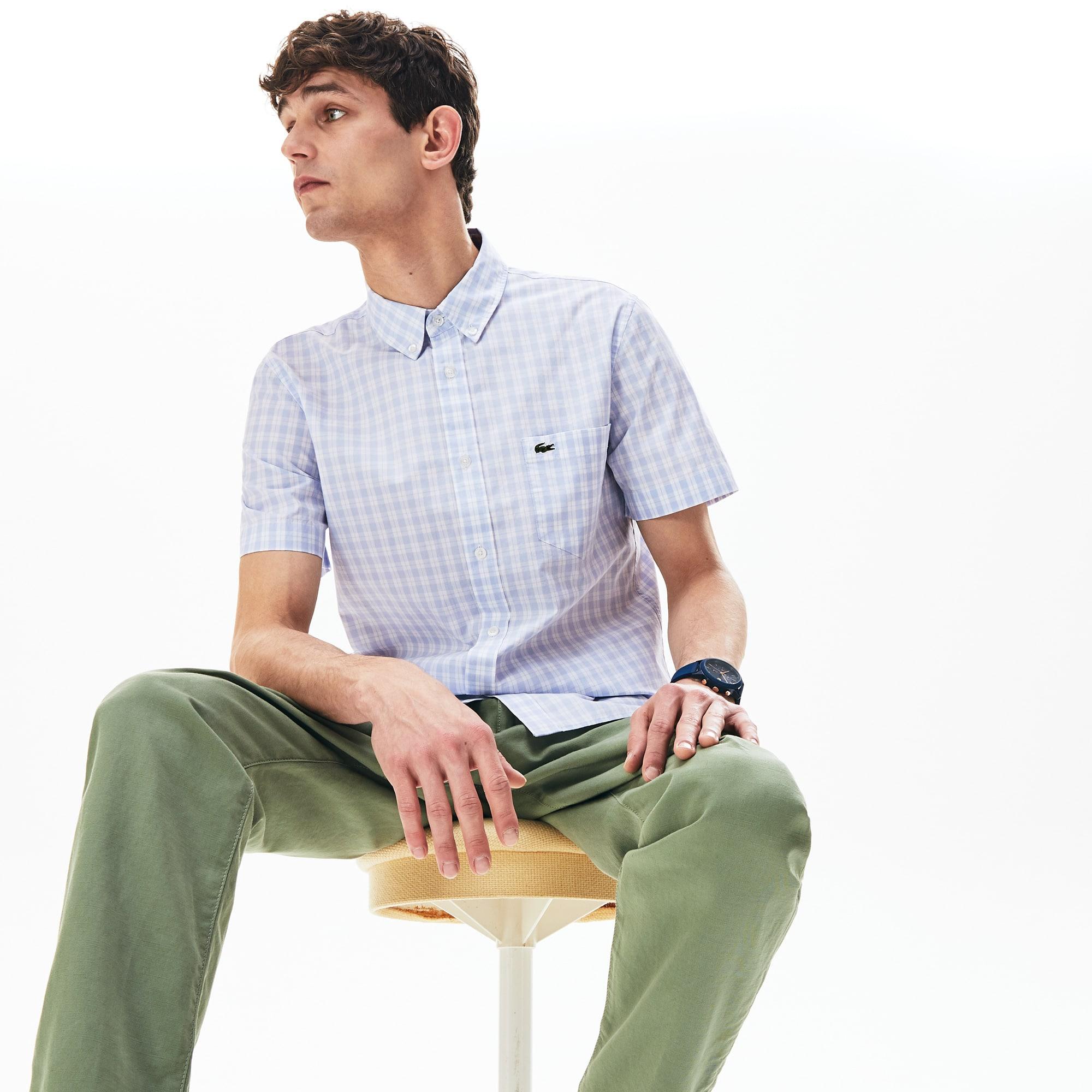 라코스테 Lacoste Mens Slim Fit Short-Sleeve Wool Shirt,White / Light Blue - 9AR