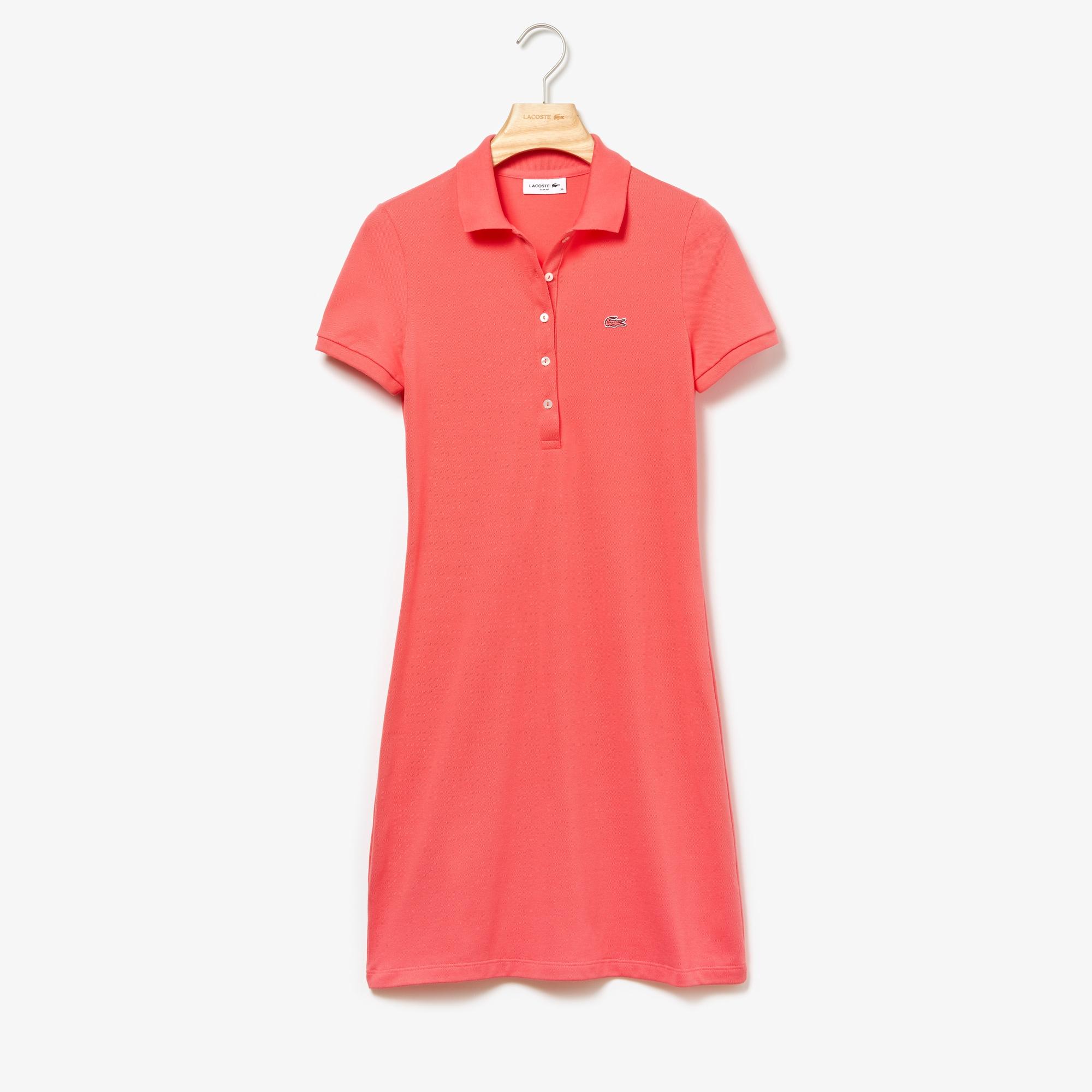 라코스테 미니 피케 폴로 원피스 Lacoste Womens Stretch Cotton Mini Pique Polo Dress,pink