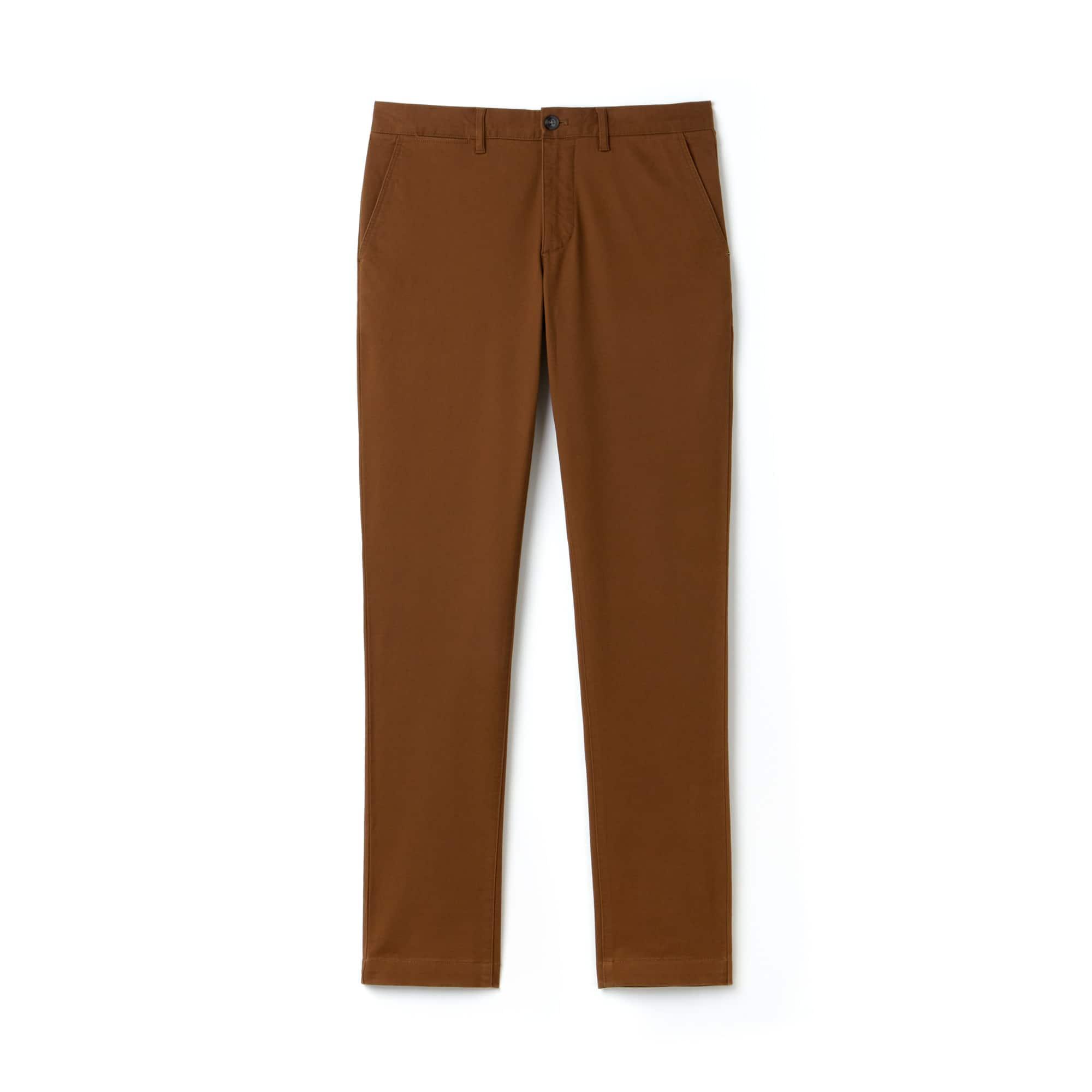 라코스테 Lacoste Mens Slim Fit Stretch Gabardine Chino Pants,brown