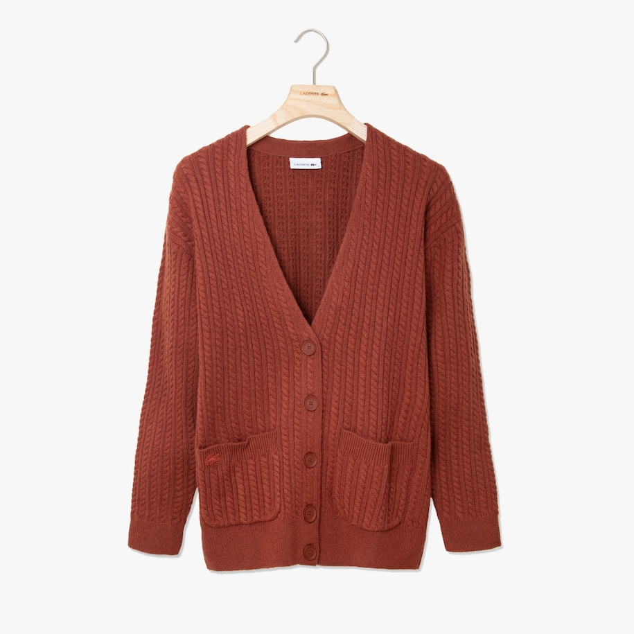 Women's Wool And Cashmere Blend Cable Knit Cardigan