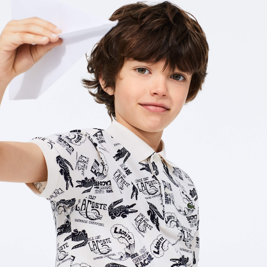Boys' All-Over Croc Print Cotton Petit Piqué Polo