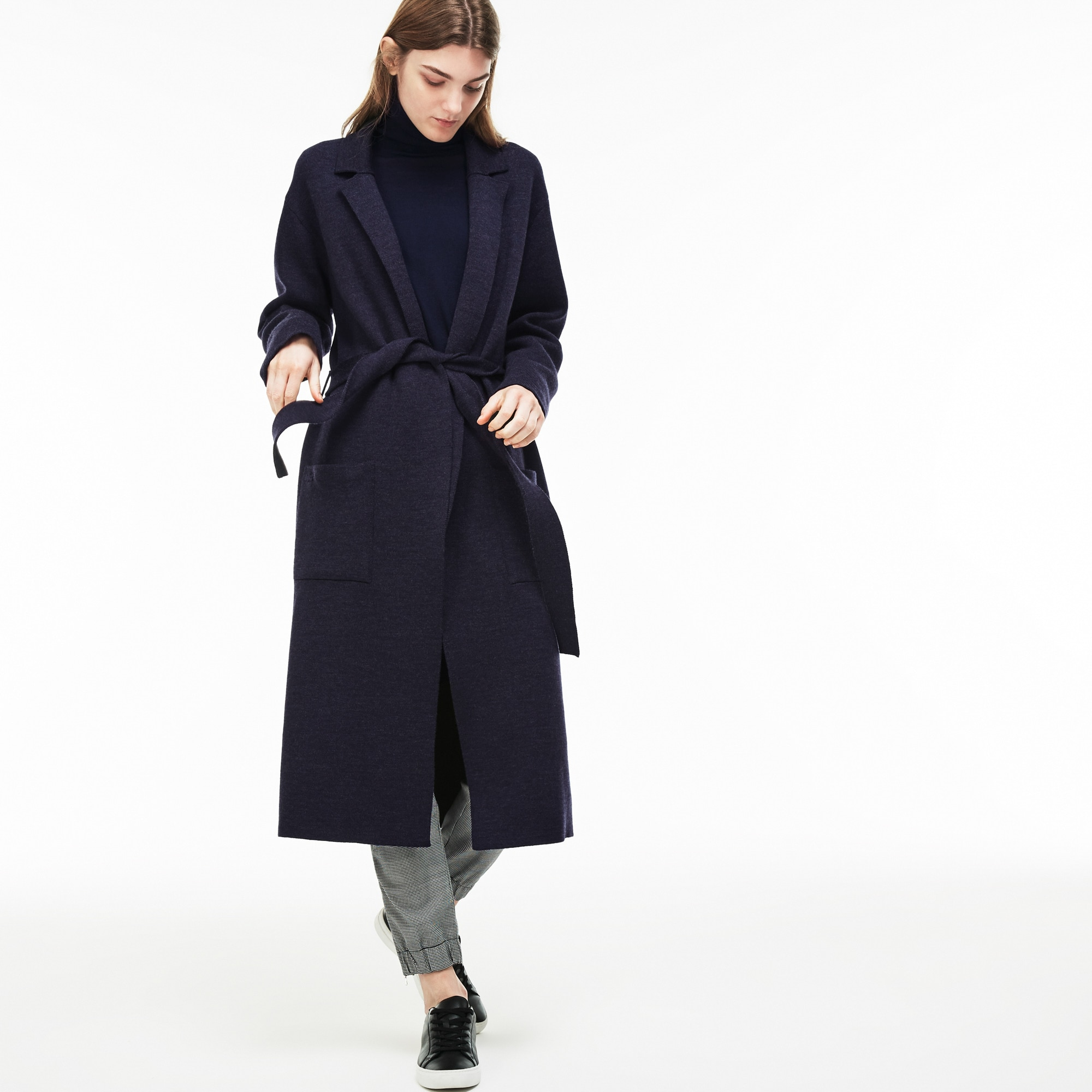 Women's Long Belted Wool Coat